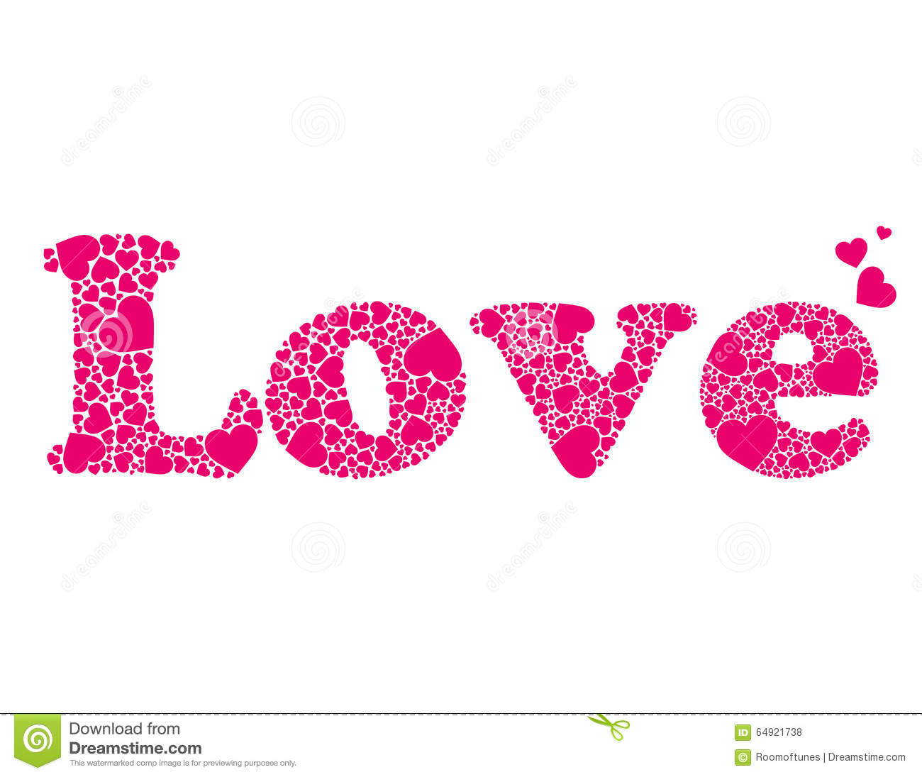 Vector Word Love Made Of Hearts