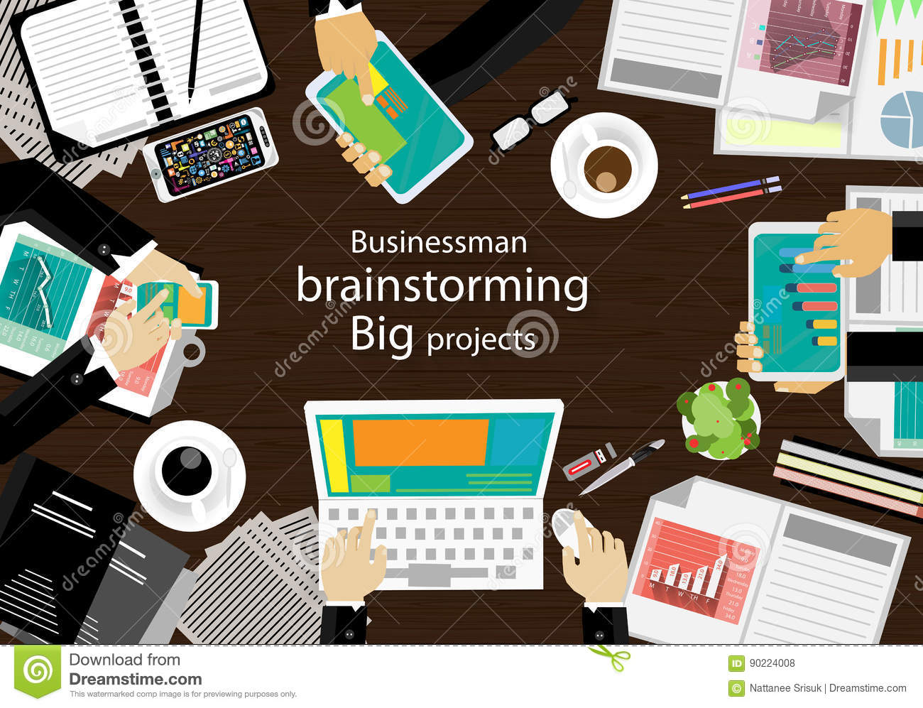 Vector workplace for business meetings and brainstorming. Analysis plan Concept and web banners, print media and mobile technology