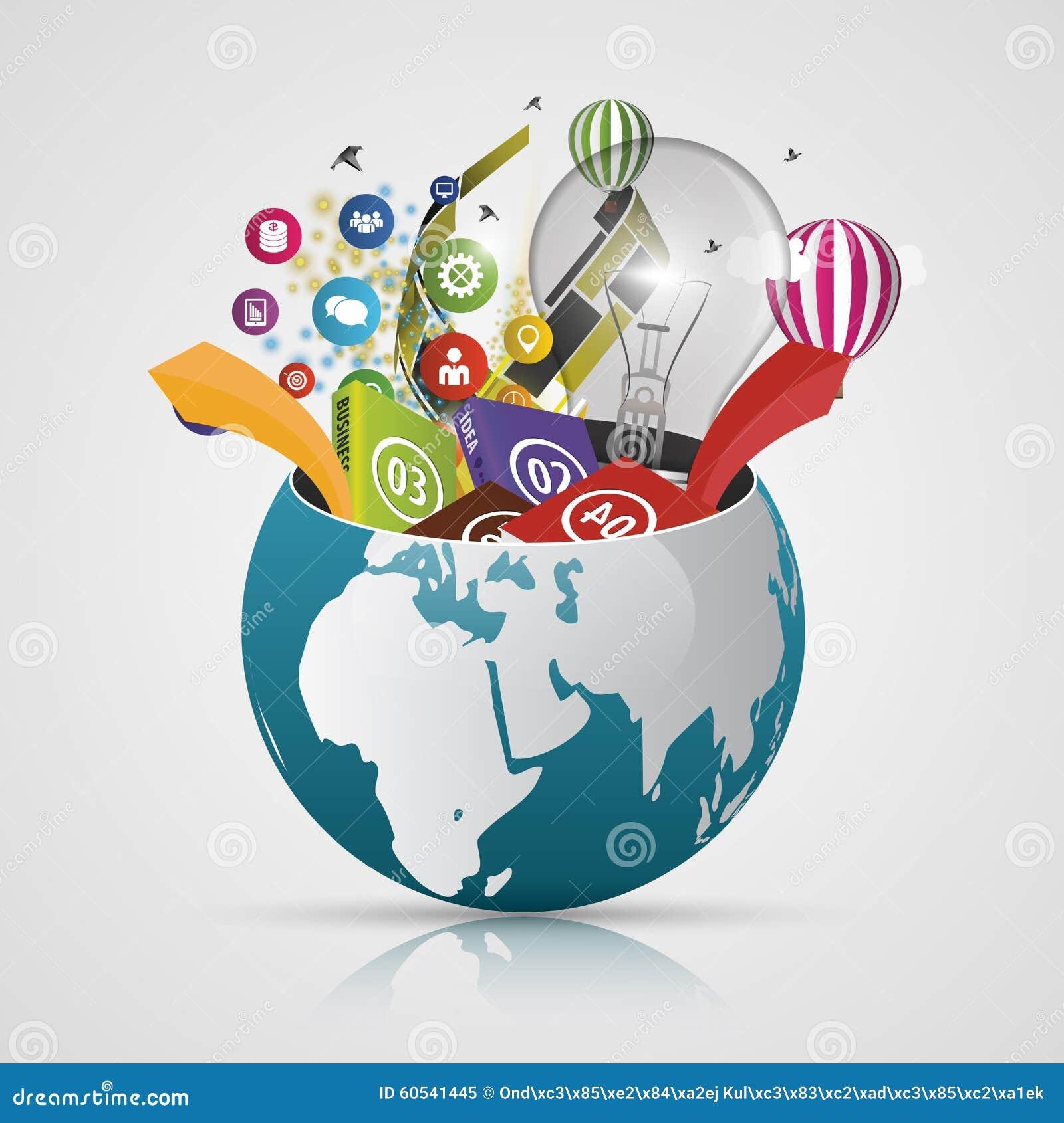 Vector World Globe, 3d Creative Map Of The Earth. Modern ...