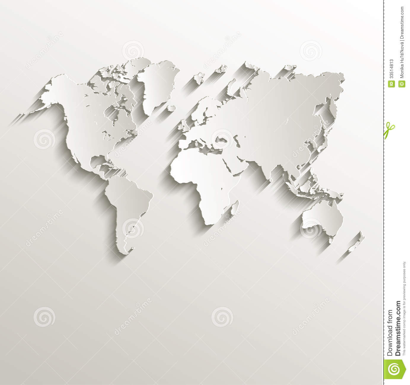 Vector world map card paper 3d nature stock vector image 33514813 vector world map card paper 3d nature gumiabroncs Choice Image