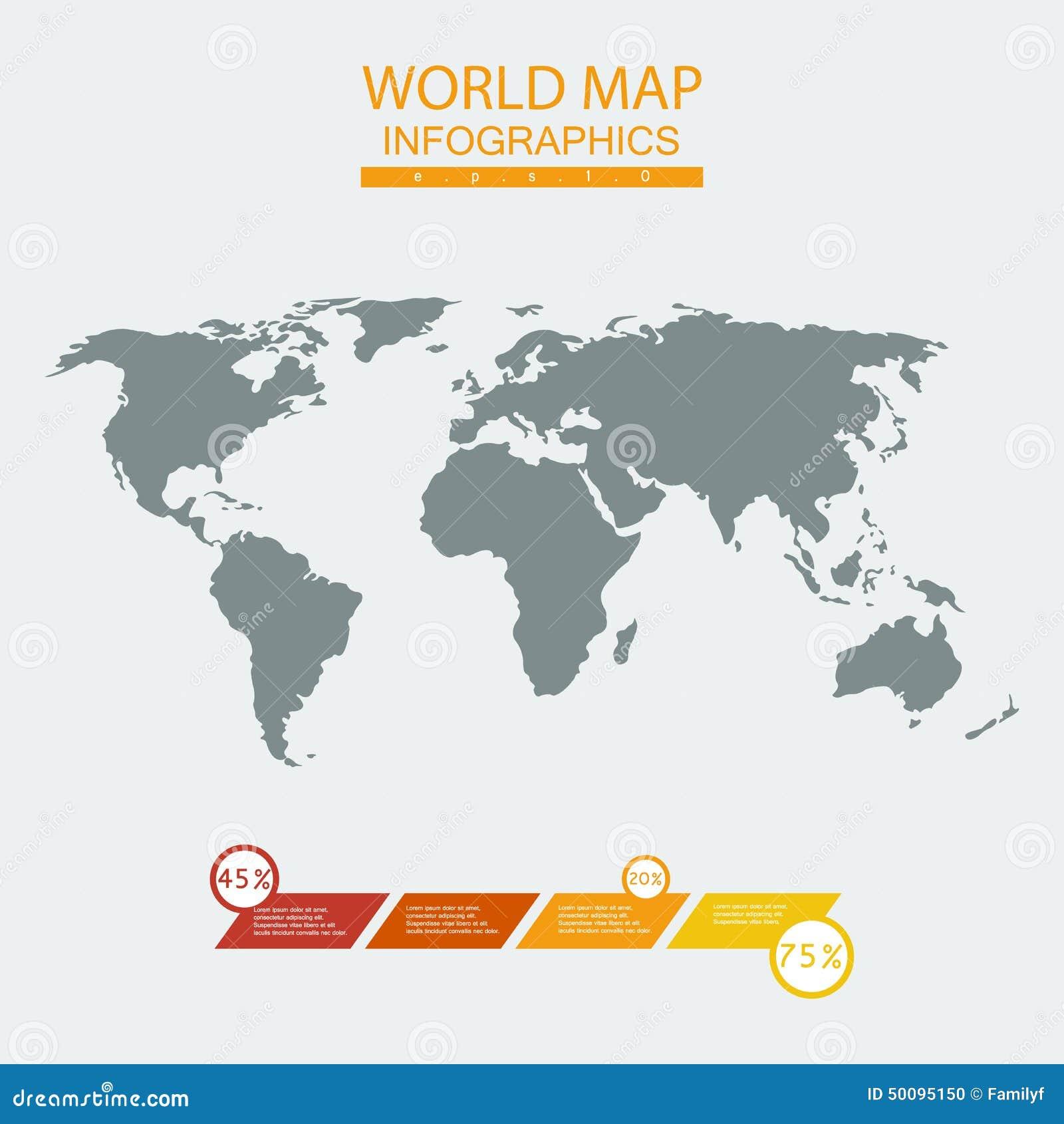 Vector World Map Chart Stock Vector Illustration Of Abstract - Mapchart