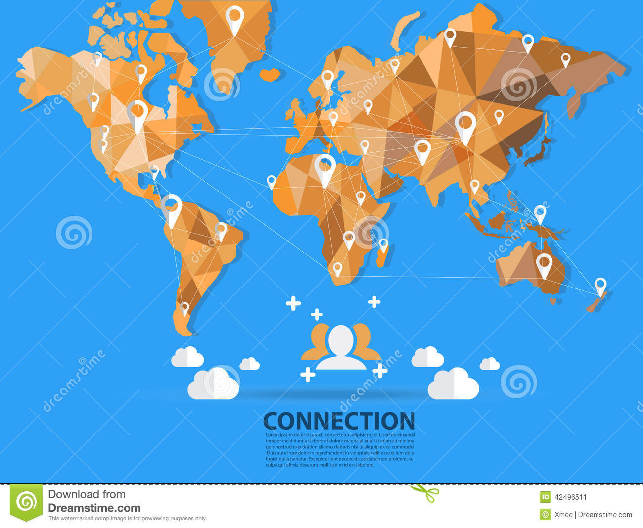 Vector world map connection origami stock vector illustration of download comp gumiabroncs Gallery