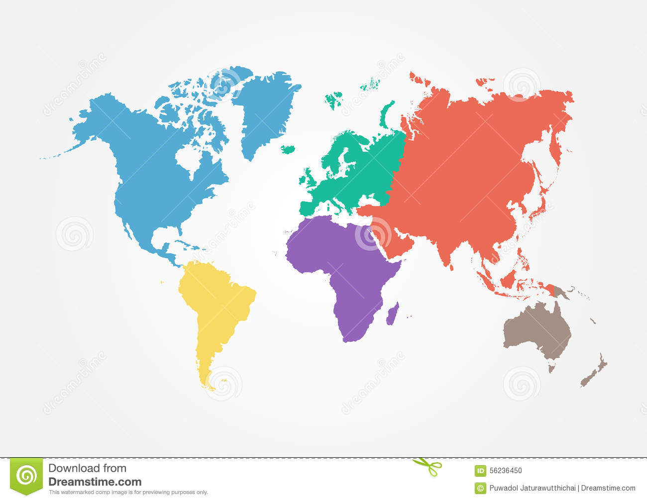 Vector world map with continent in different color flat design vector world map with continent in different color flat design stock vector illustration of atlantic colorless 56236450 gumiabroncs Images
