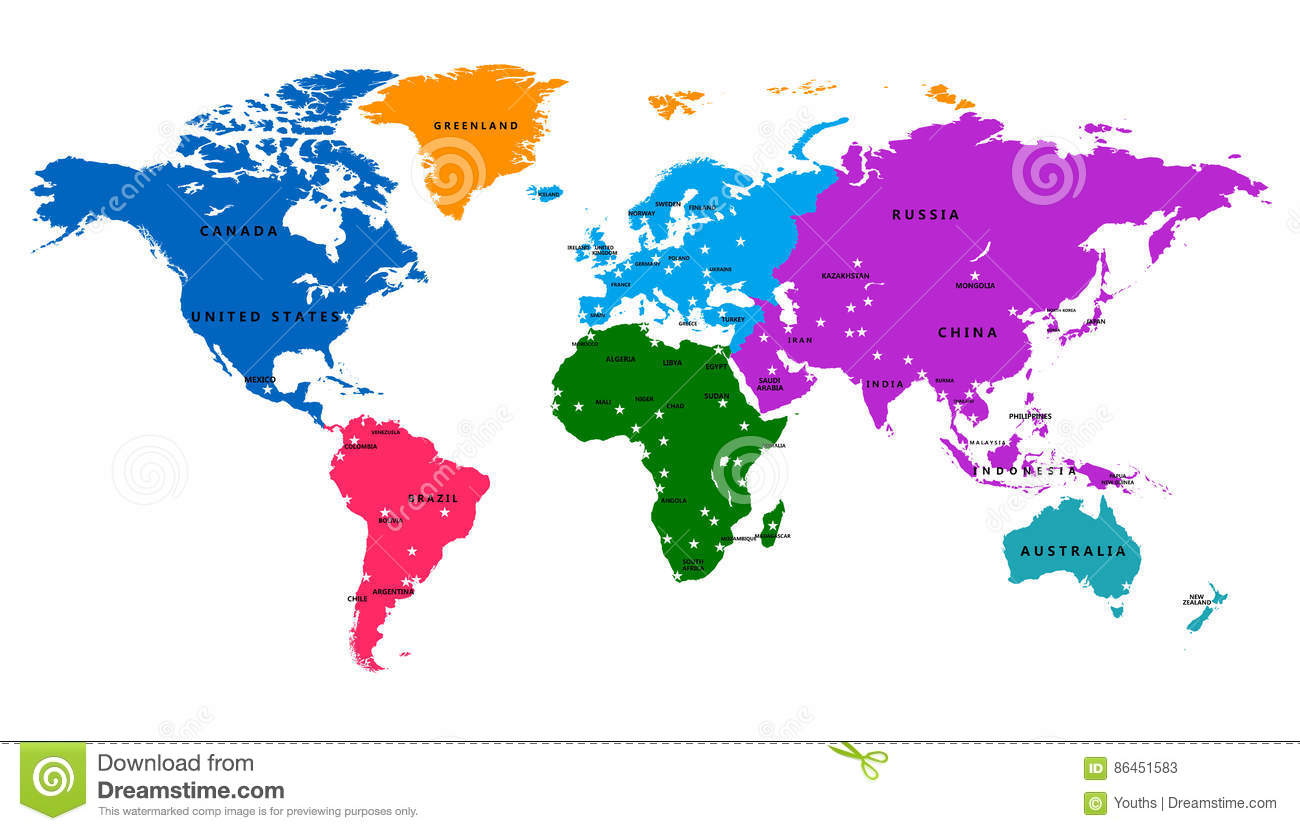 carte du monde avec capital Vector World Map With Country And Capital Stock Vector