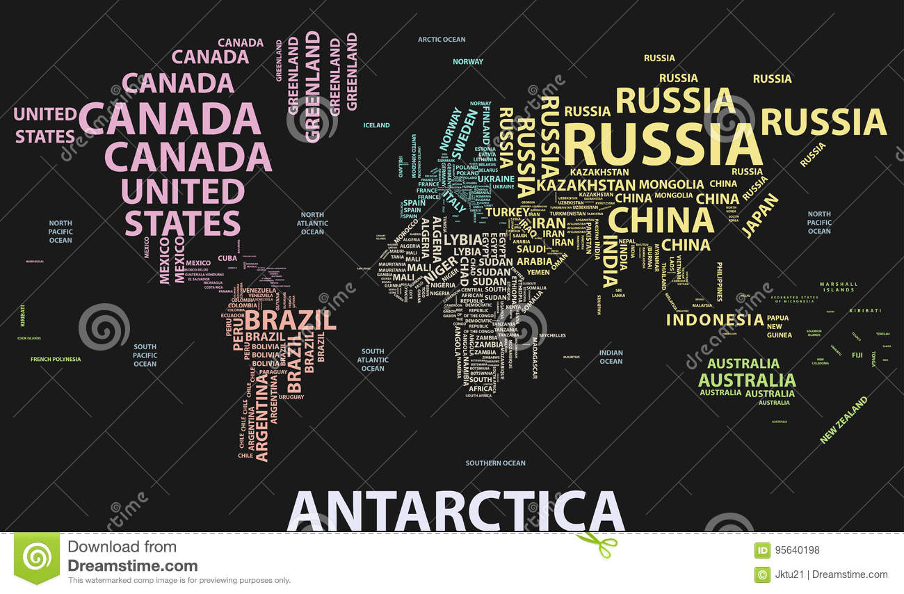 Vector world map with country names in typography stock vector vector world map with country names in typography type earth gumiabroncs Images