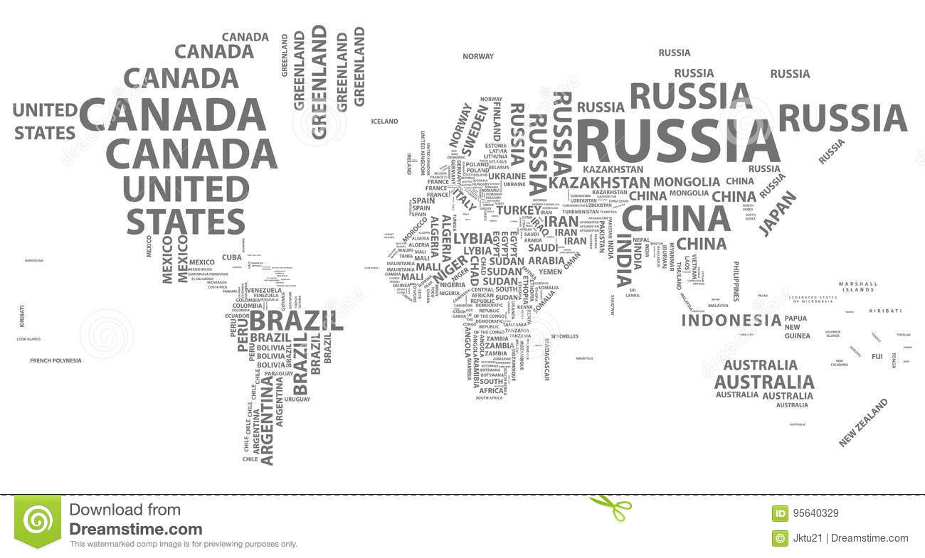 Vector world map with country names in typography stock vector download comp gumiabroncs
