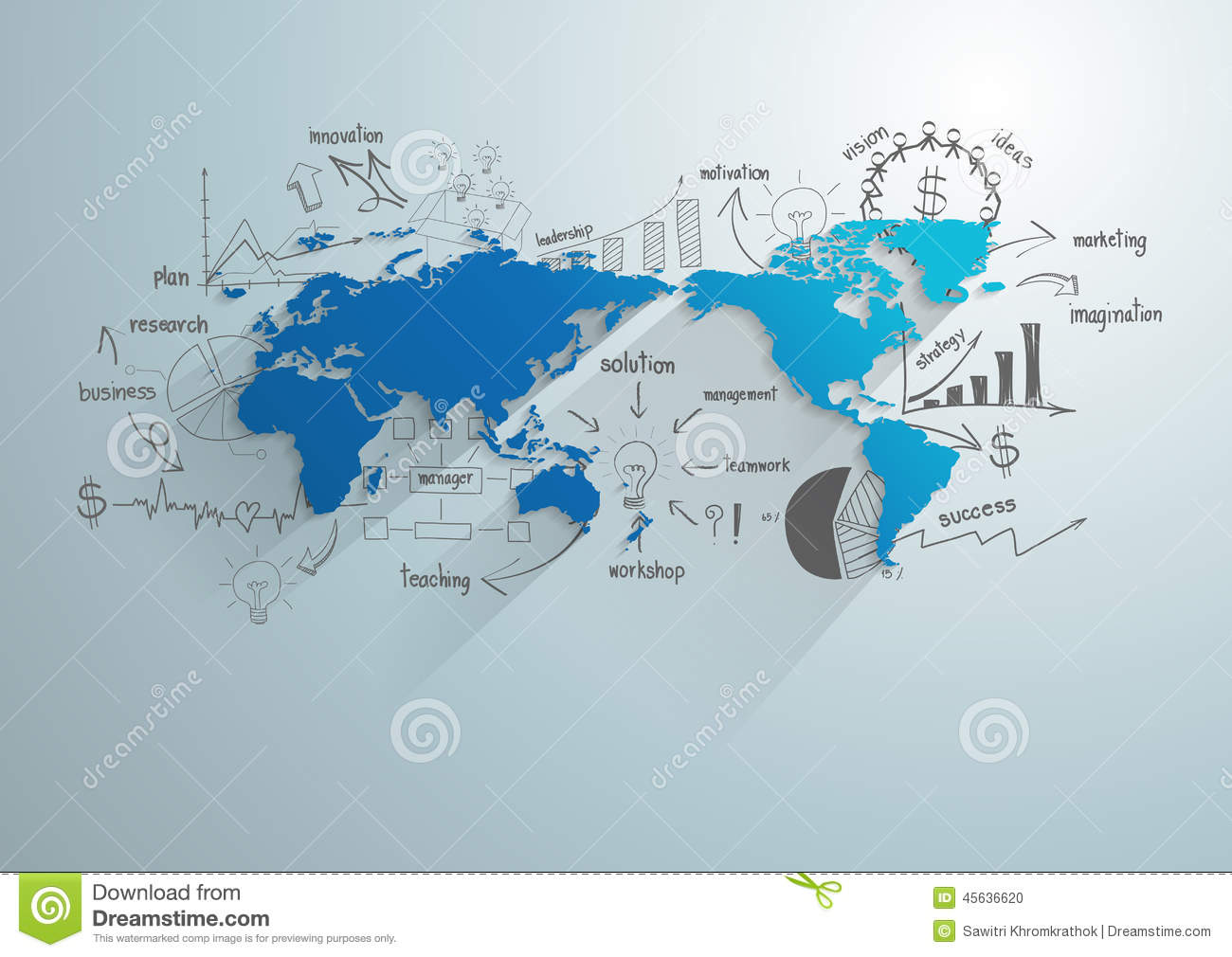 Vector World Map With Creative Drawing Chart And Graphs Stock Vector