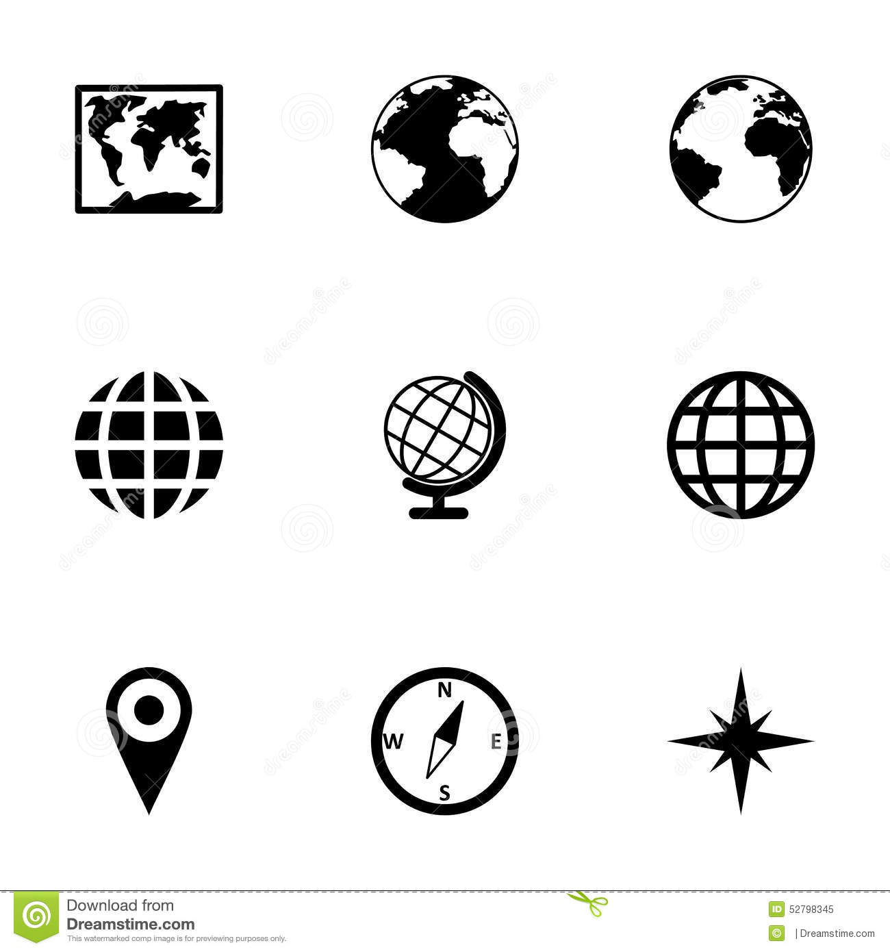 Vector world map icon set stock vector illustration of collection vector world map icon set gumiabroncs Choice Image