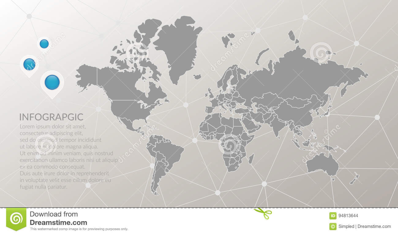 Vector world map infographic symbol map pointer icons abstract map pointer icons abstract polygonal connection background with global illustration sign template elements for business marketing project web design gumiabroncs Choice Image