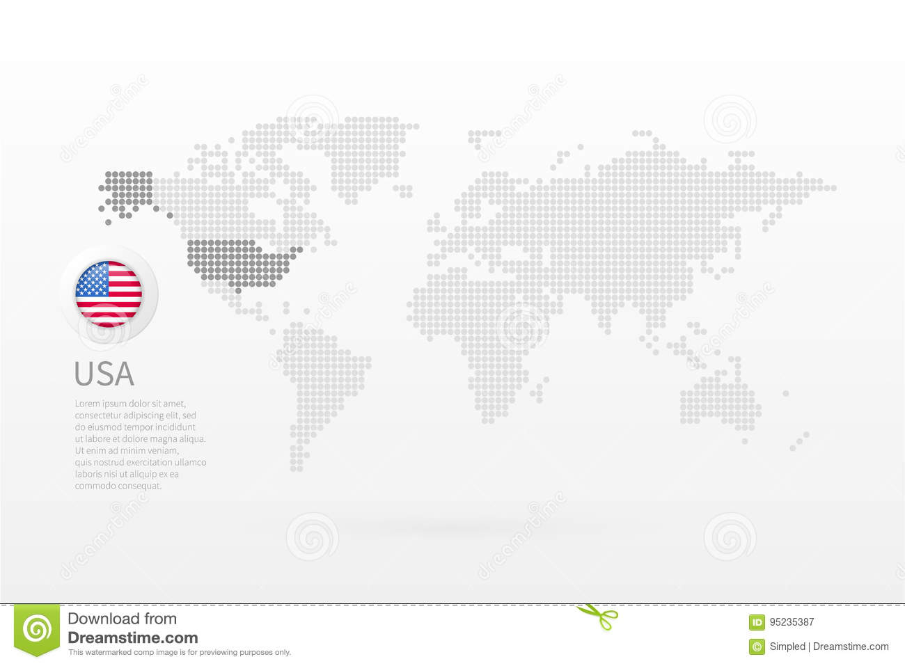 Vector World Map Infographic Symbol. United States Of America Flag ...