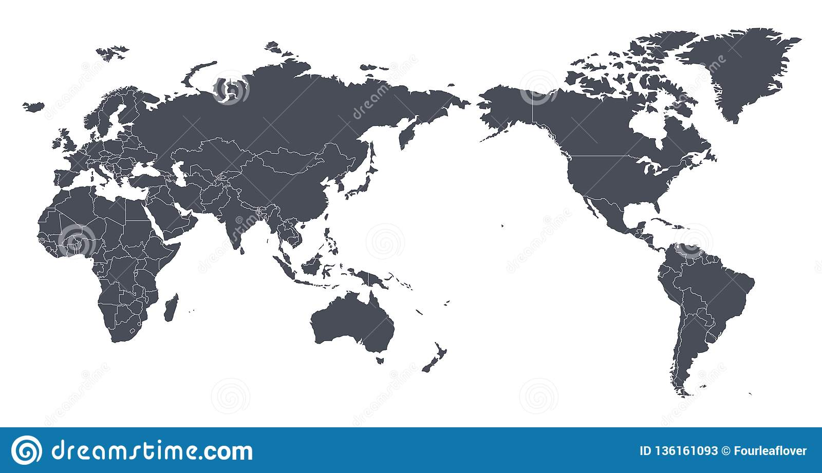 Vector World Map Outline Contour Silhouette With ...