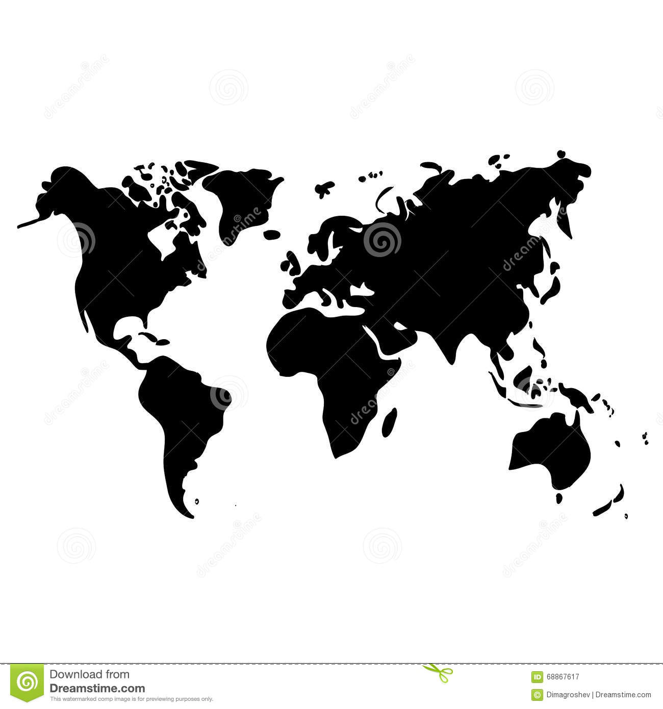 Time Zone Map Black And White: Vector World Map On White Background, Black Illustration