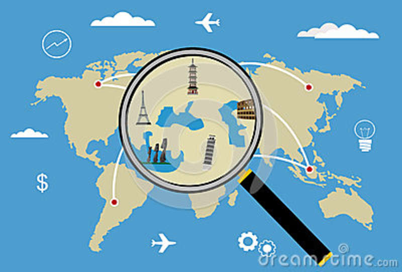 Vector World Travel Map With Airplanes Stock Vector Illustration