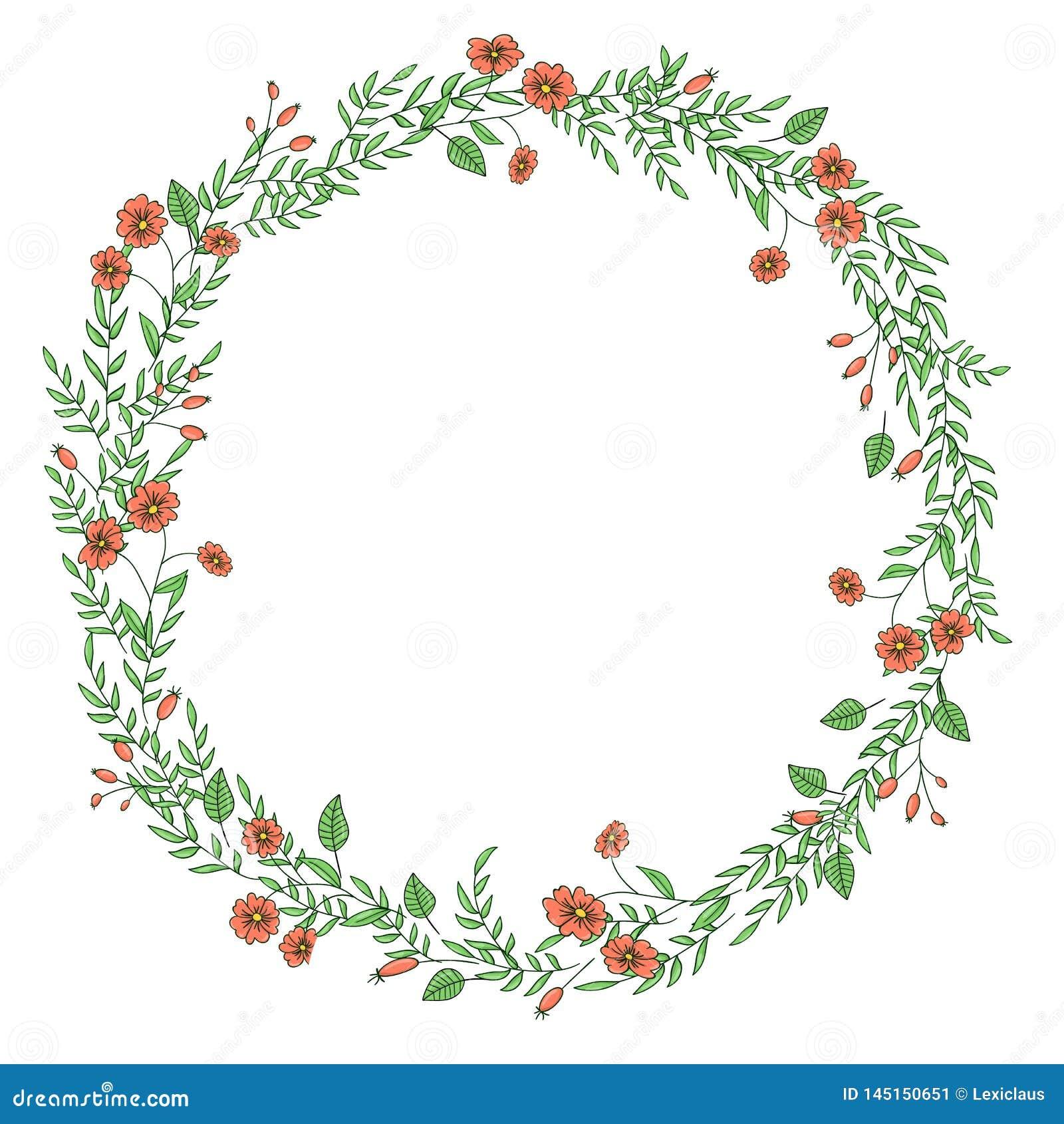 Vector wreath of garden flowers and herbs.
