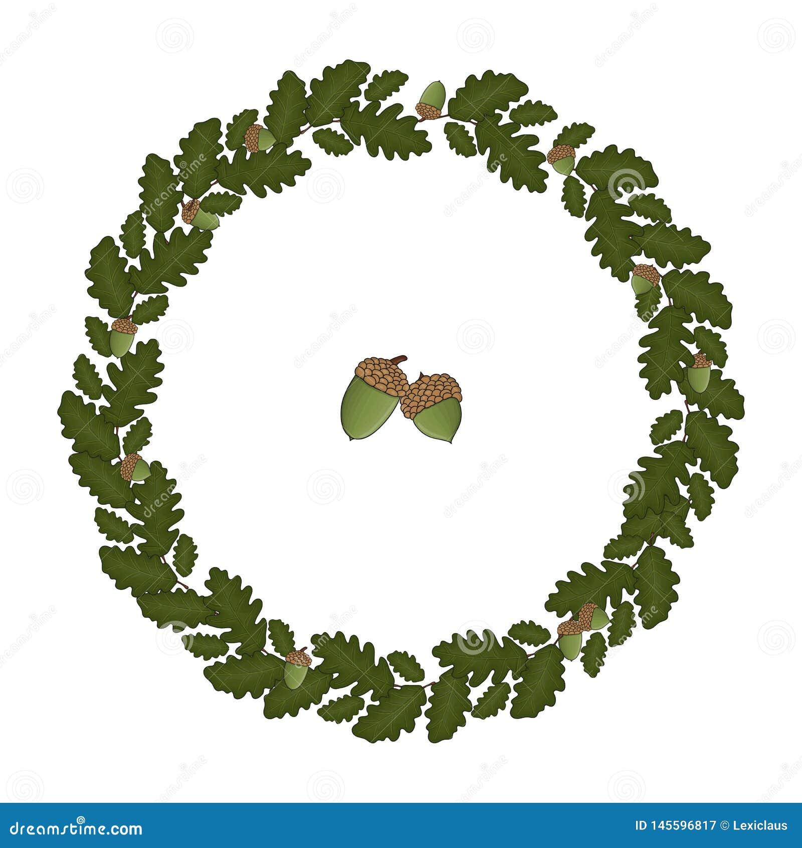 Vector wreath of oak leaves