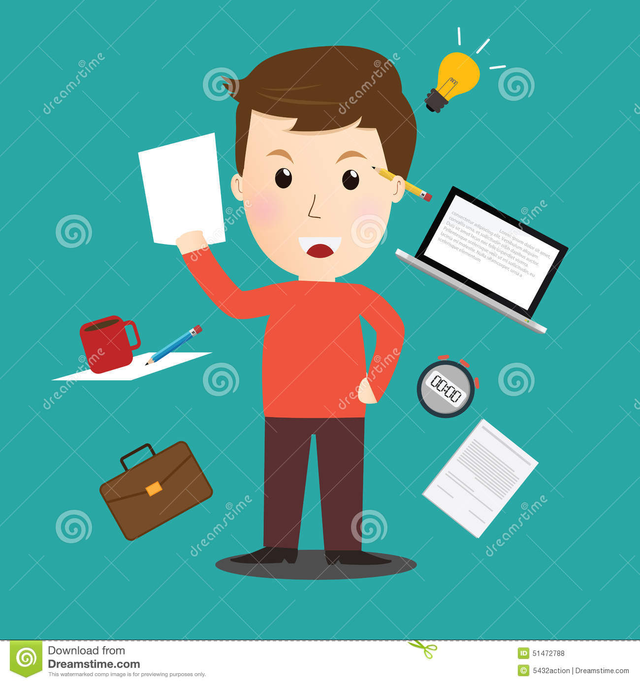 Character Design For Writers : Vector of writer character cartoon flat design stock