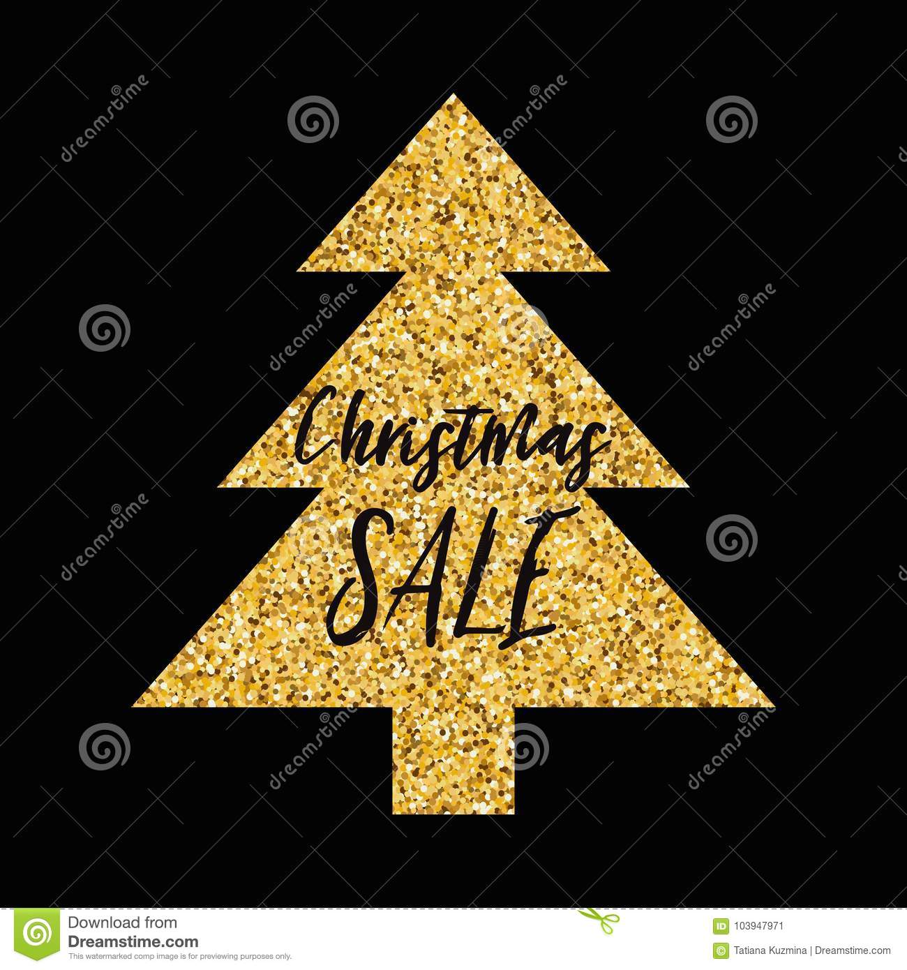 Vector Xmas Banner Christmas Sale With Sparkle Gold Christmas Tree