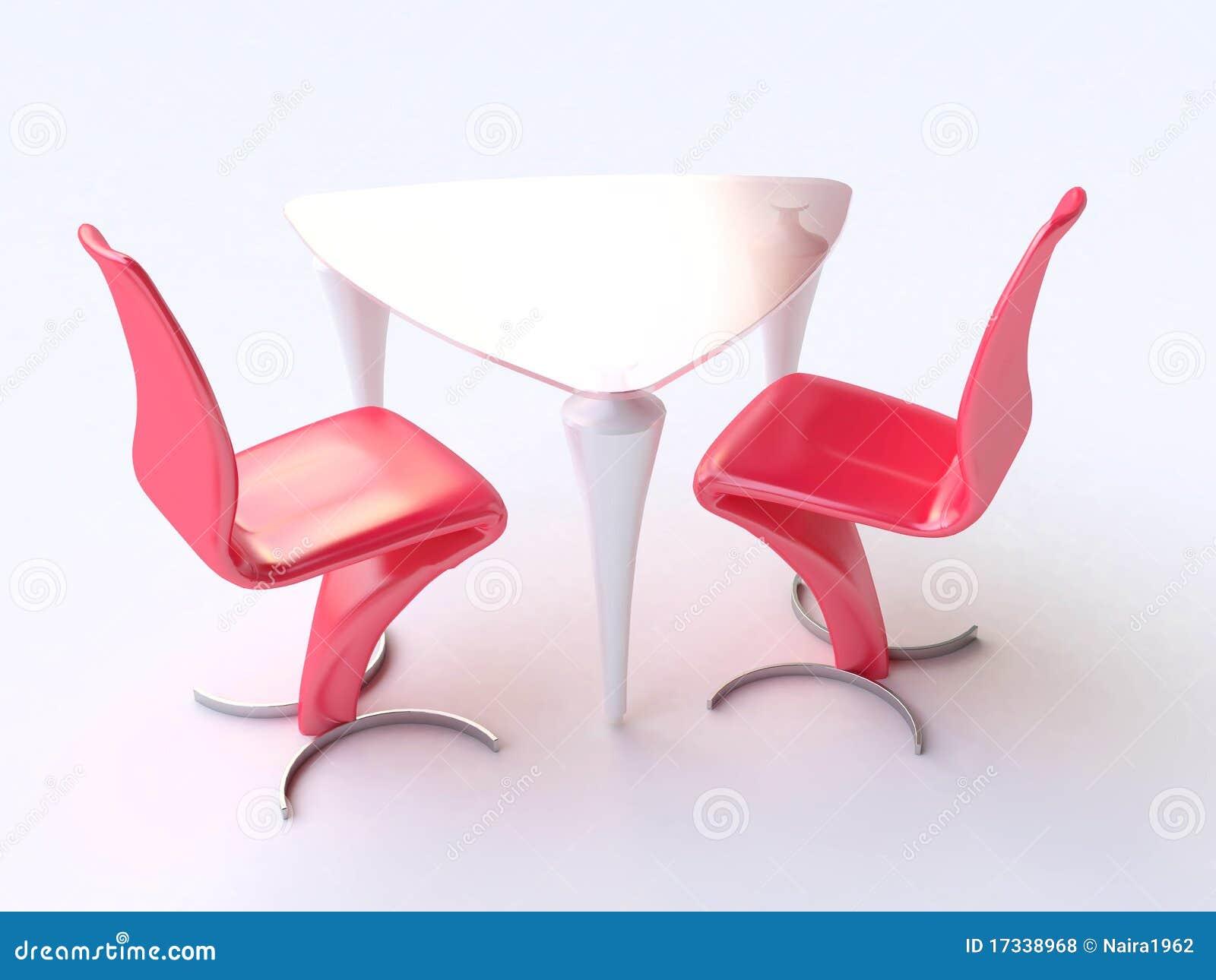 Vector y sillas modernos en rojo y blanco fotos de archivo for Sillas rojas modernas