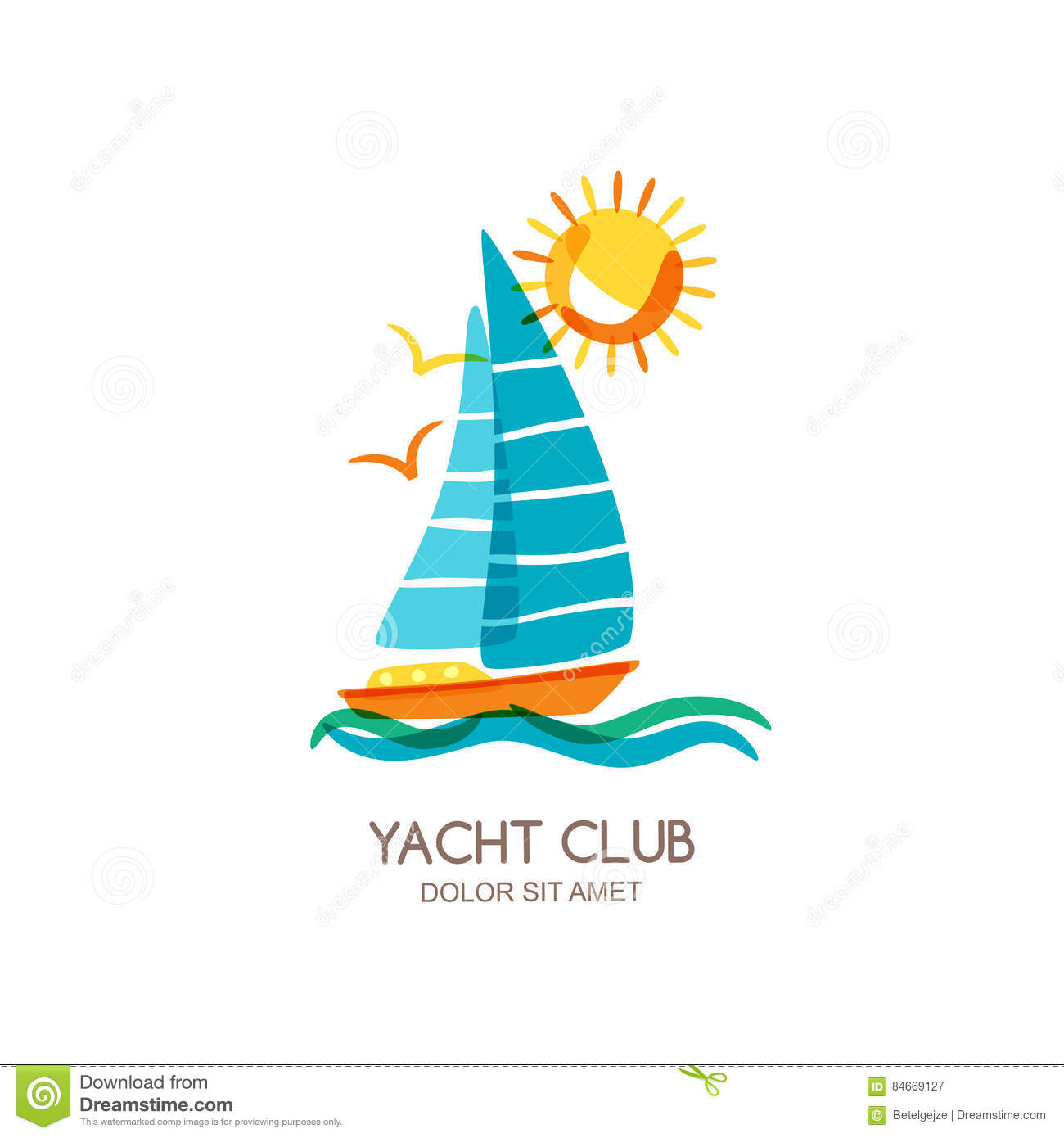 vector yacht club logo design template sailing boat in the sea and