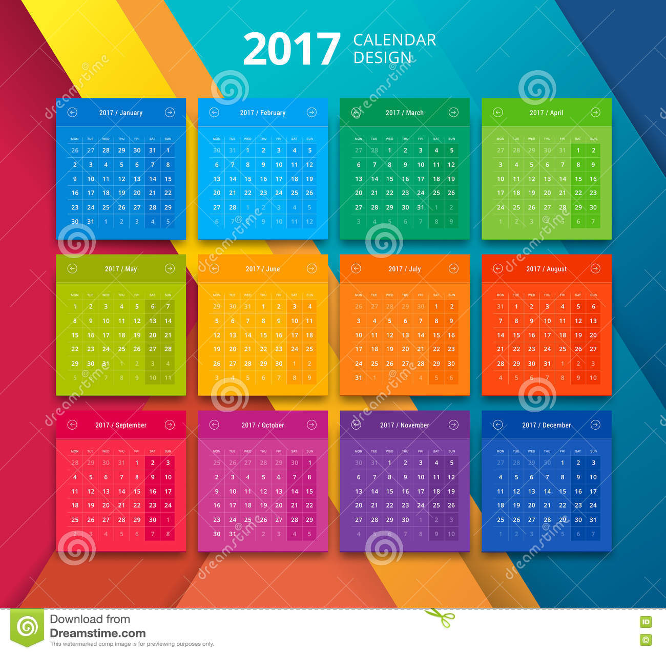 Calendar Design Material : Vector year calendar design template stock