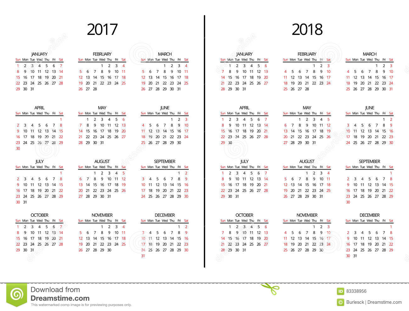 vector 2017 year and 2018 calendar page simple monthly