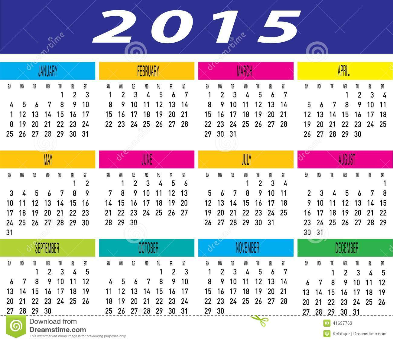 Monthly Calendar Year : Vector of year colorful monthly calendar template