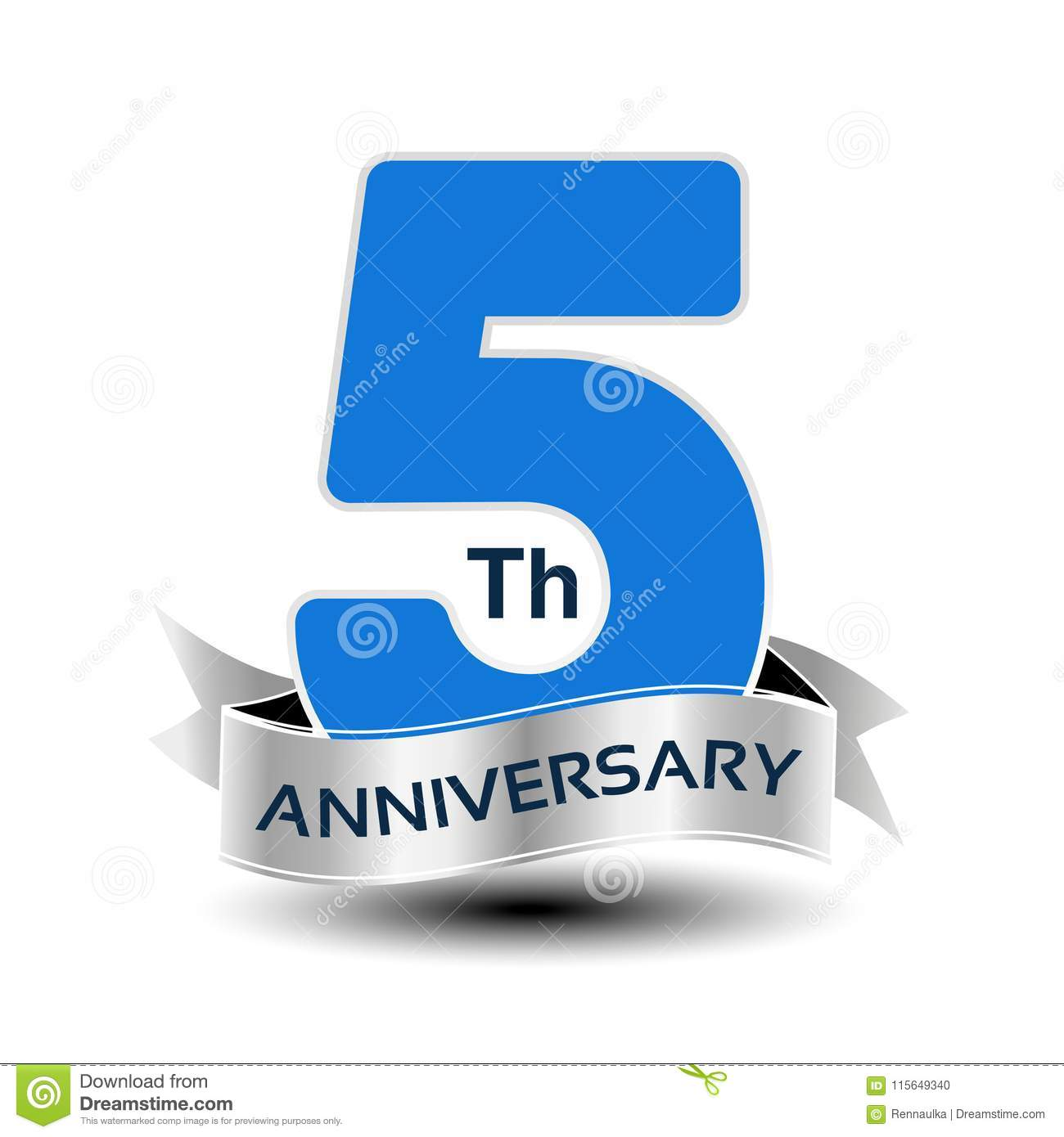Vector 5 Years Anniversary Blue Number With Silver Ribbon Stock