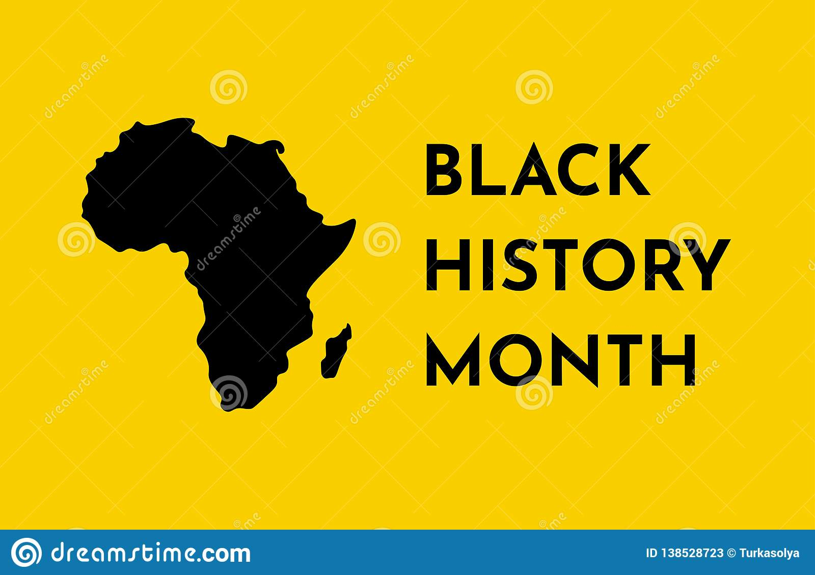 Vector Yellow Background With Black Silhouette Of African Continent Black History Month Stock Illustration Illustration Of Celebration Month 138528723