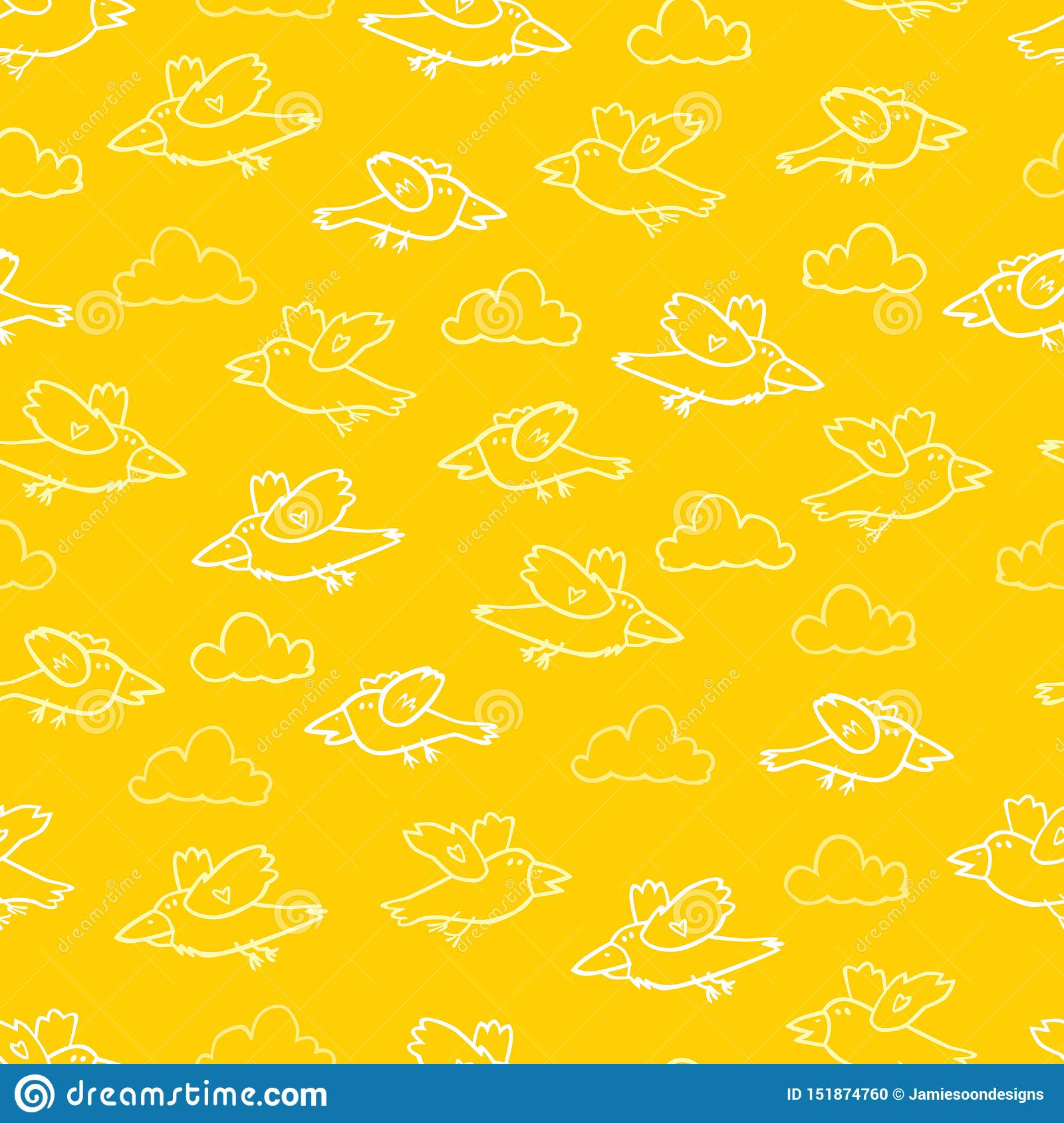 Vector yellow cartoon birds repeat pattern. Suitable for gift wrap, textile and wallpaper