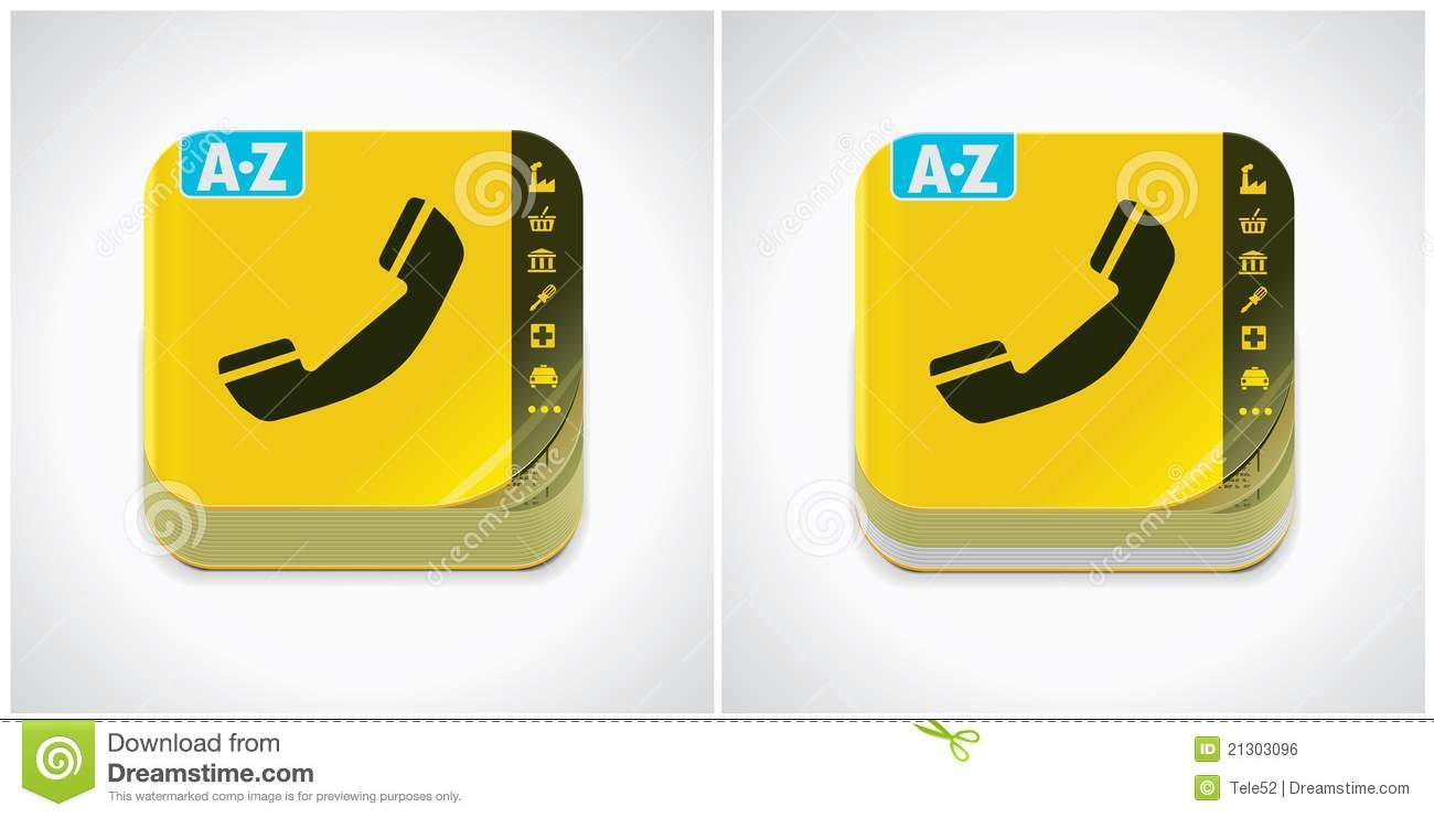 Vector Yellow Phone Book Icon Stock Vector Illustration Of