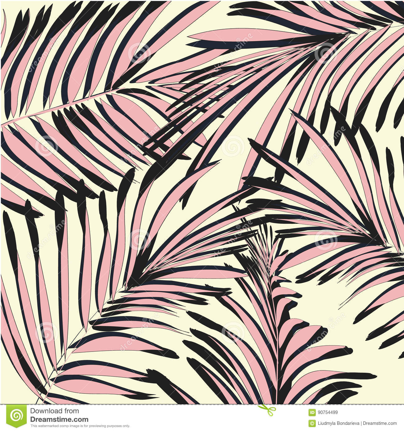 Vector Yellow Pink Palm Leaves Beach Exotic Summer Print Tropical Tree Wallpaper Texture Modern Natural Painting