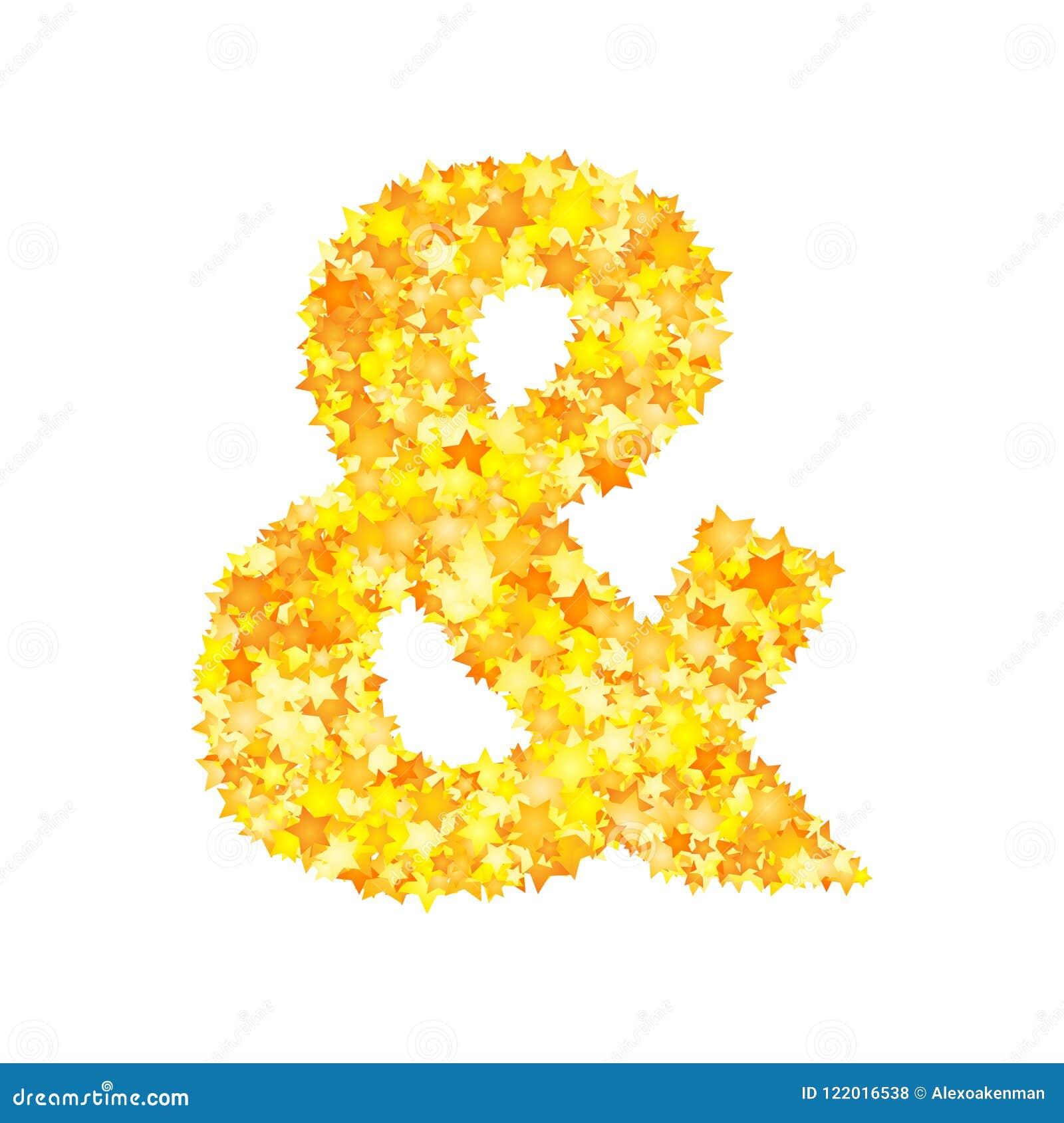 Vector yellow stars font, ampersand