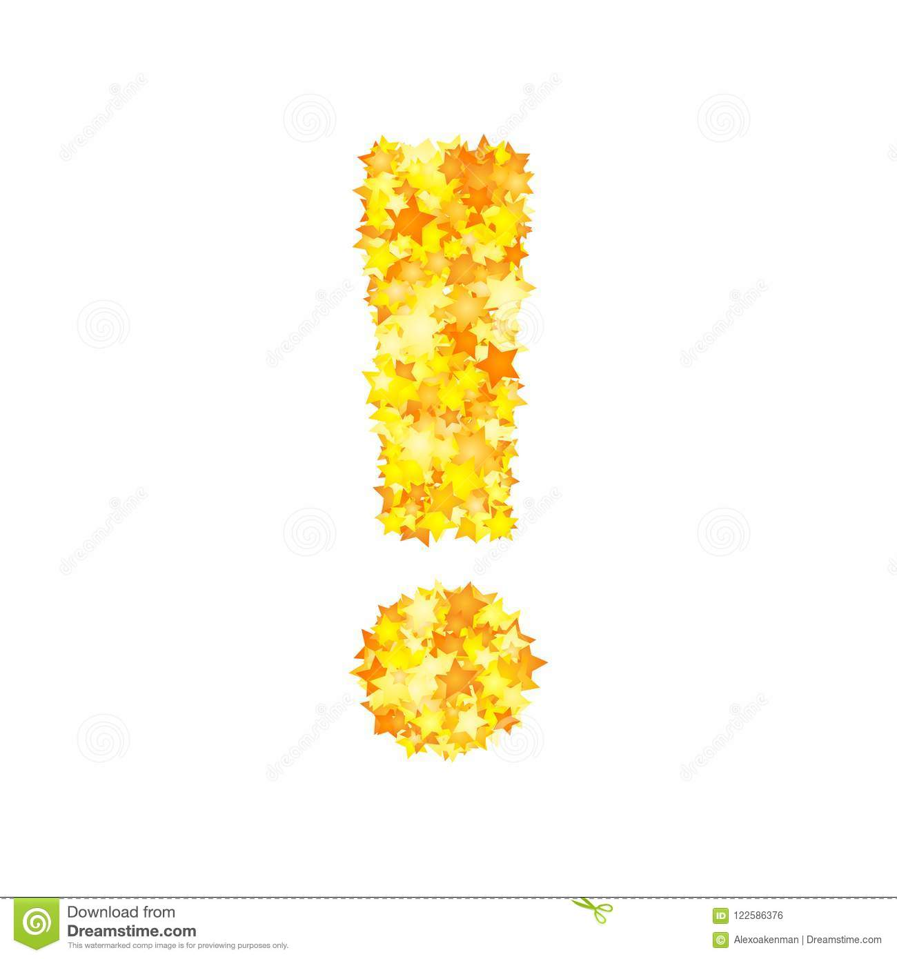Vector yellow stars font, exclamation mark