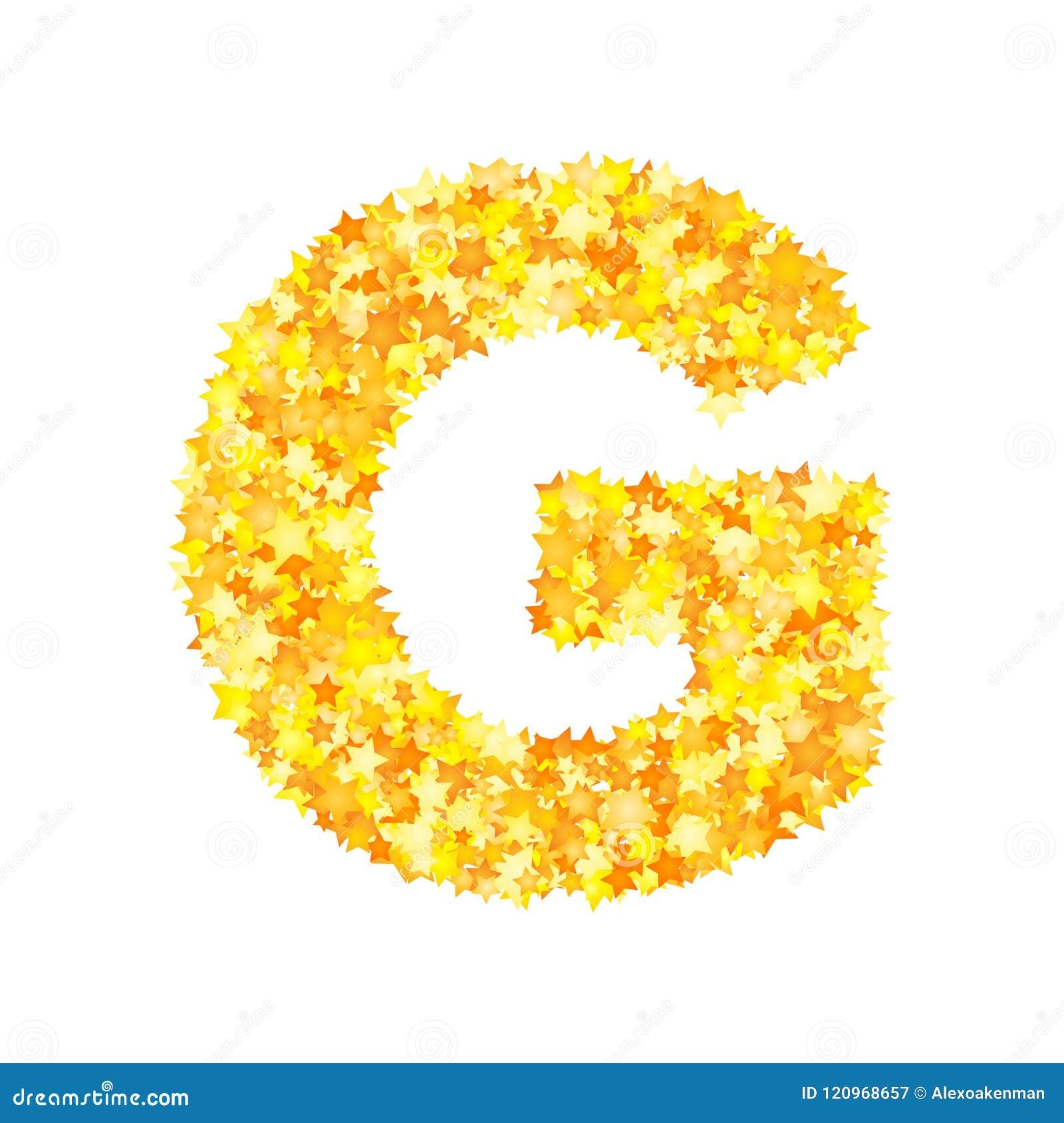 Vector yellow stars font, letter G