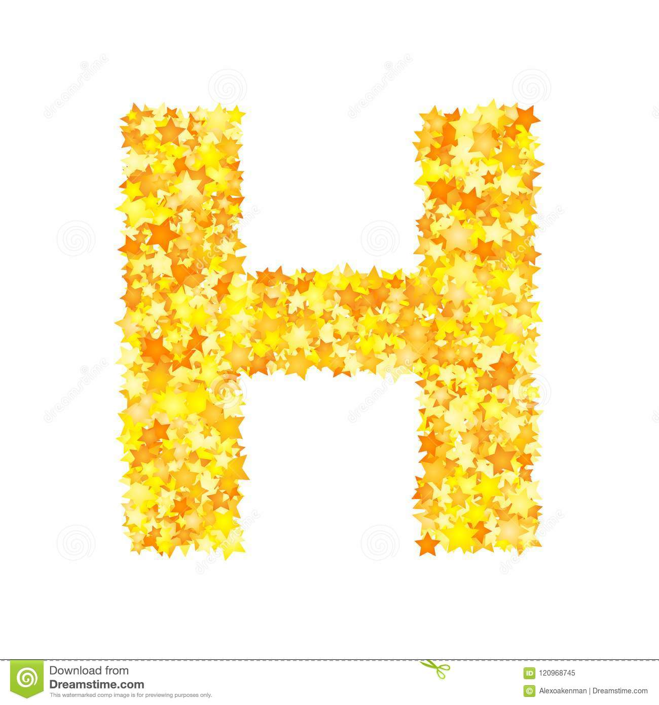 Vector yellow stars font, letter H