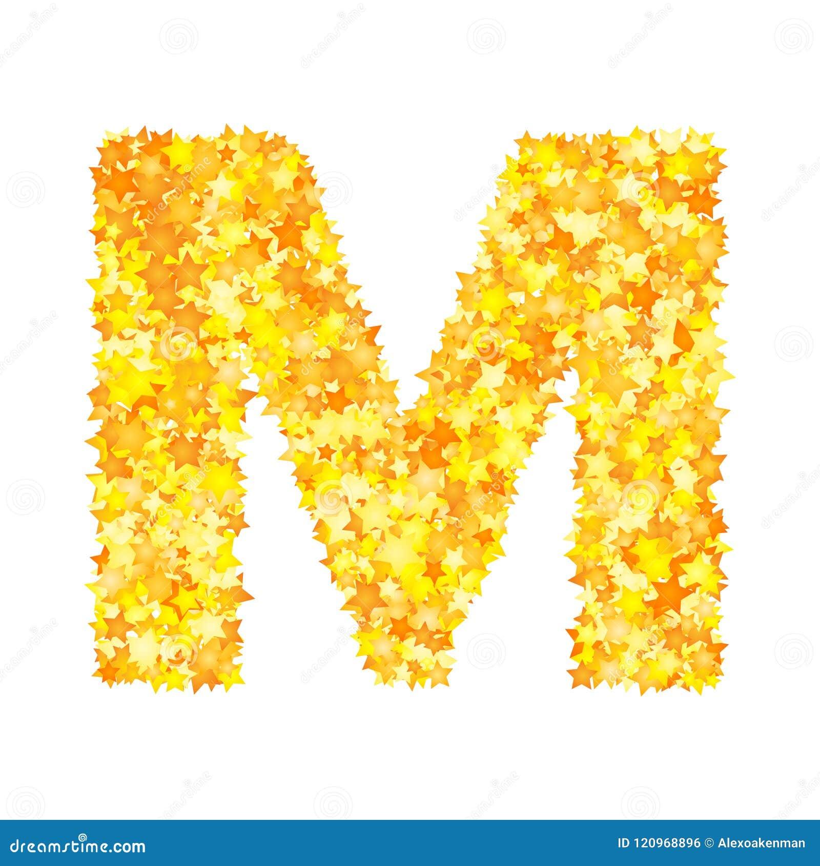 Vector yellow stars font, letter M