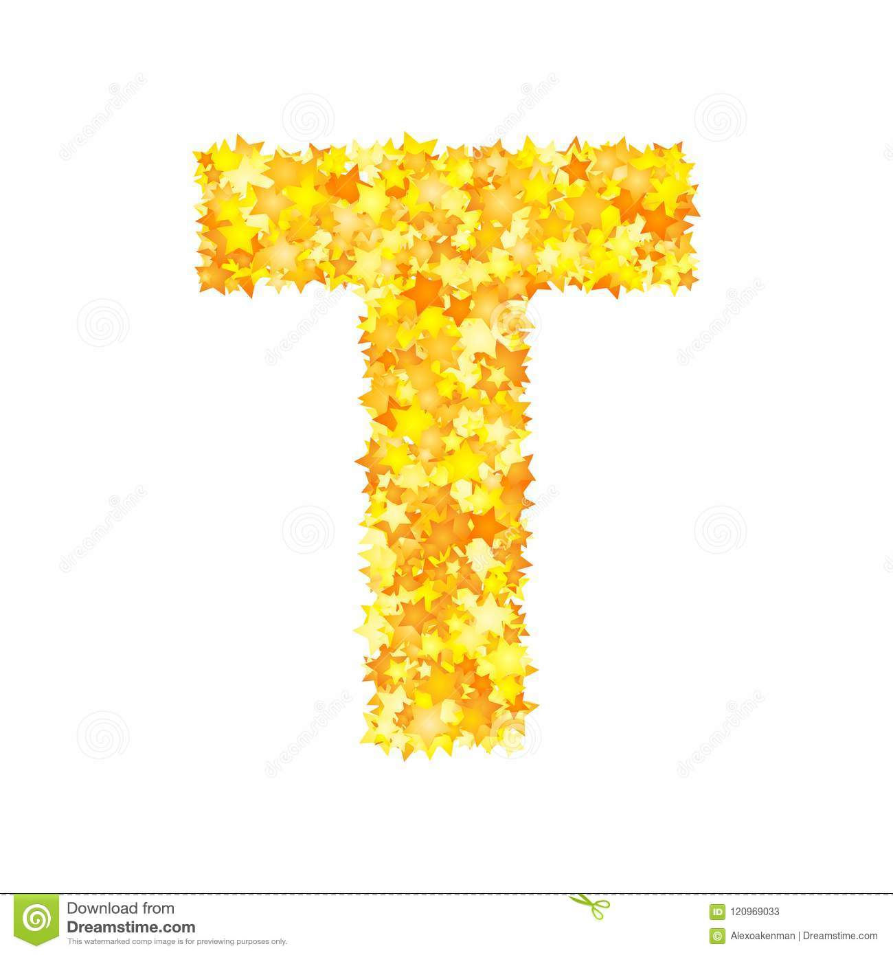Vector yellow stars font, letter T