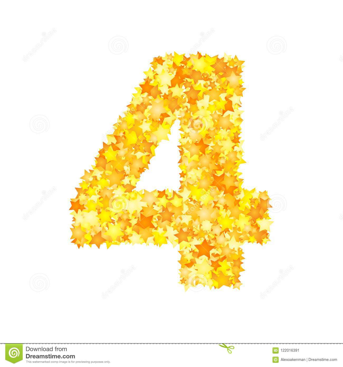 Vector yellow stars font, numeral 4