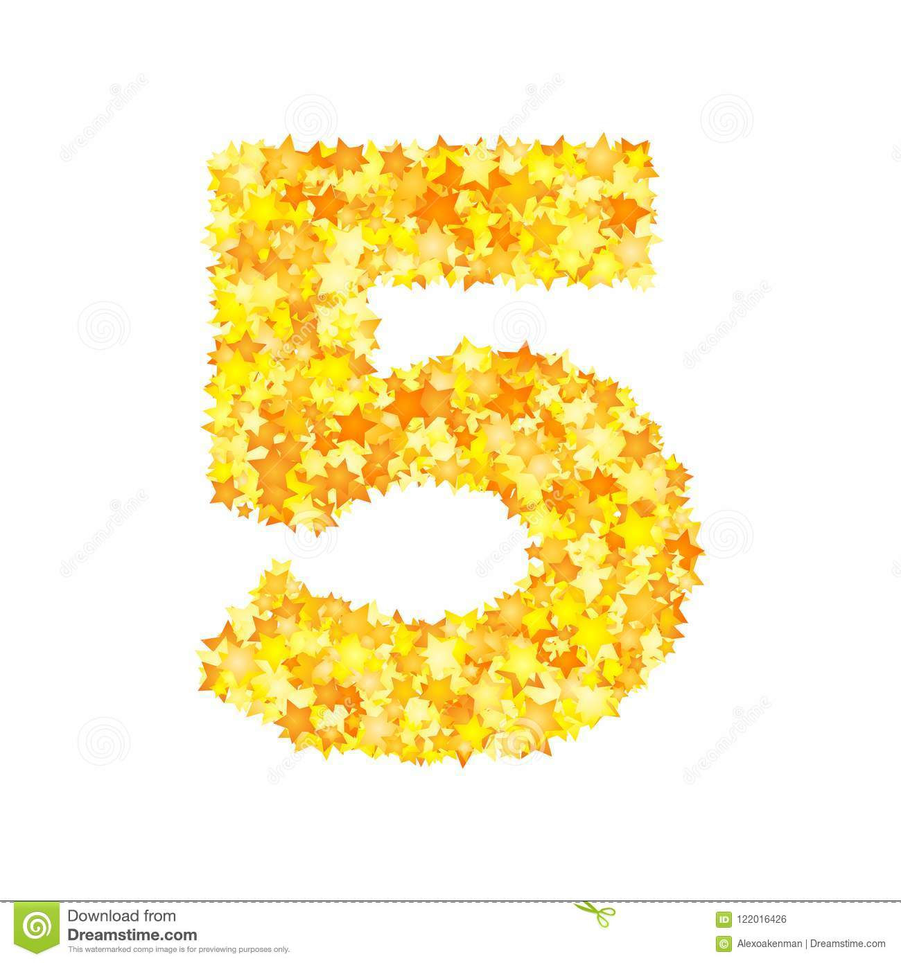 Vector yellow stars font, numeral 5