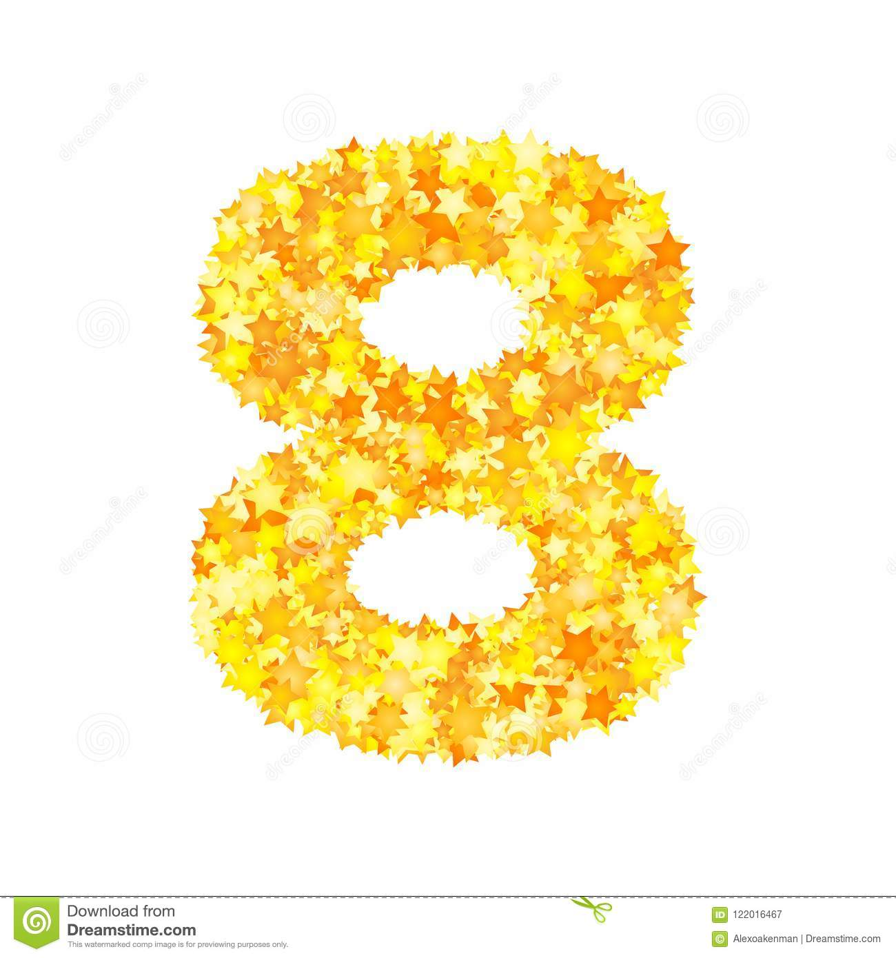 Vector yellow stars font, numeral 8
