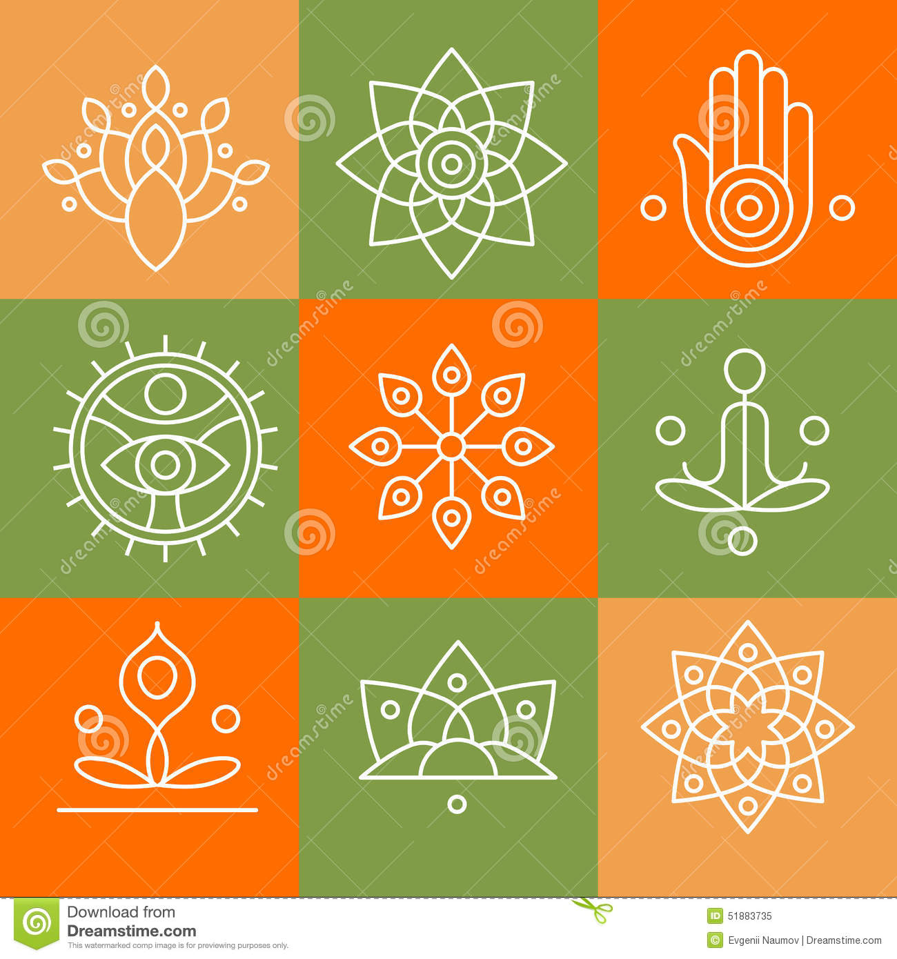 Graphic Design Elements Line : Vector yoga icons and line badges graphic design stock