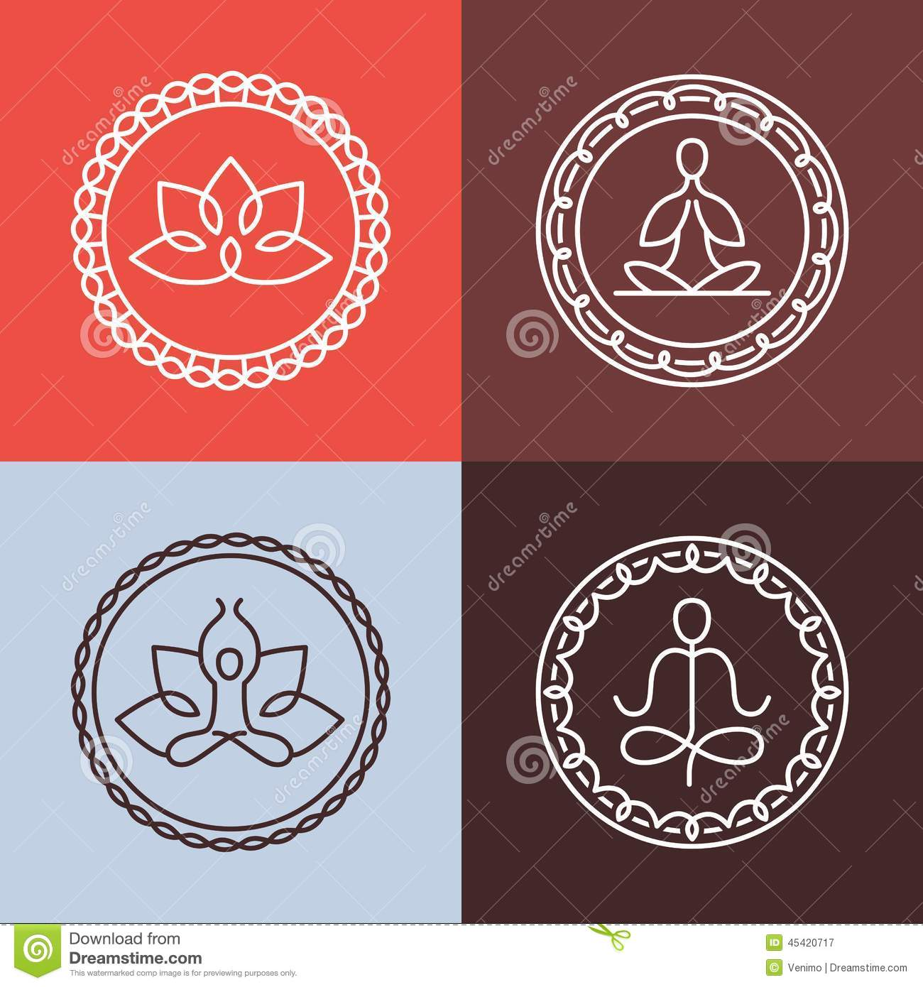 Graphic Design Elements Line : Vector yoga icons and round line badges stock