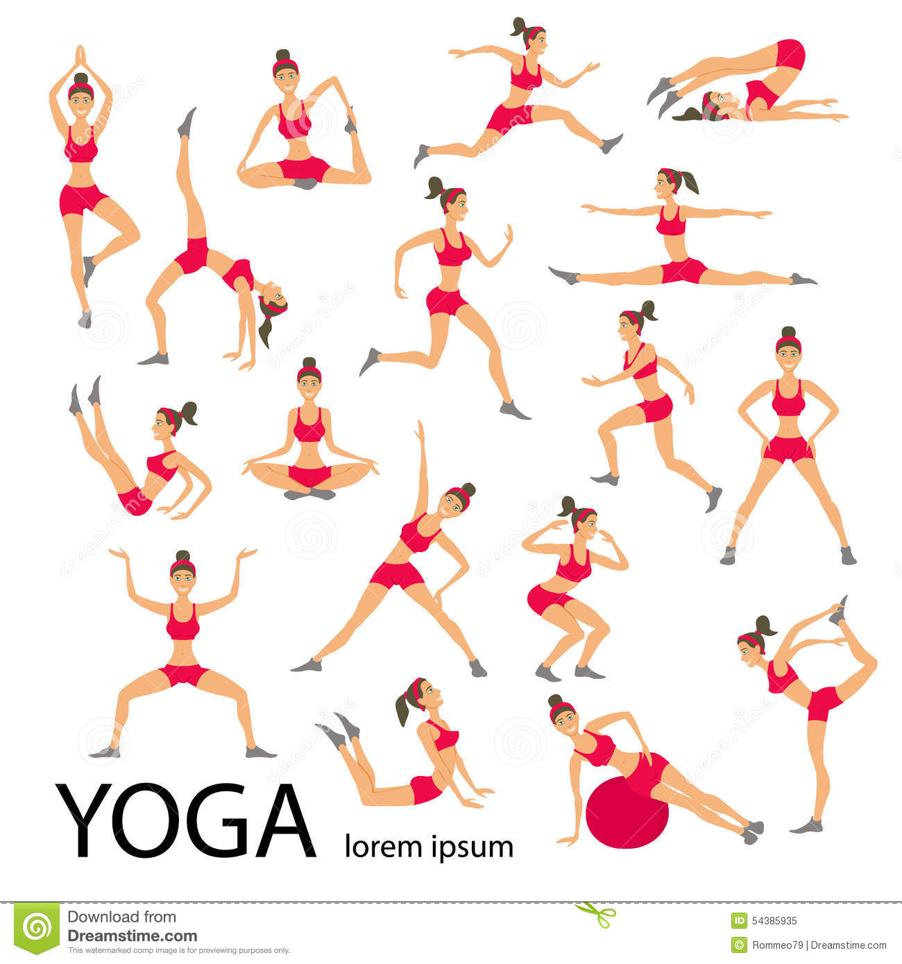 Vector Yoga Illustration Set Women Sketch Asana Girl Healthy Lifestyle