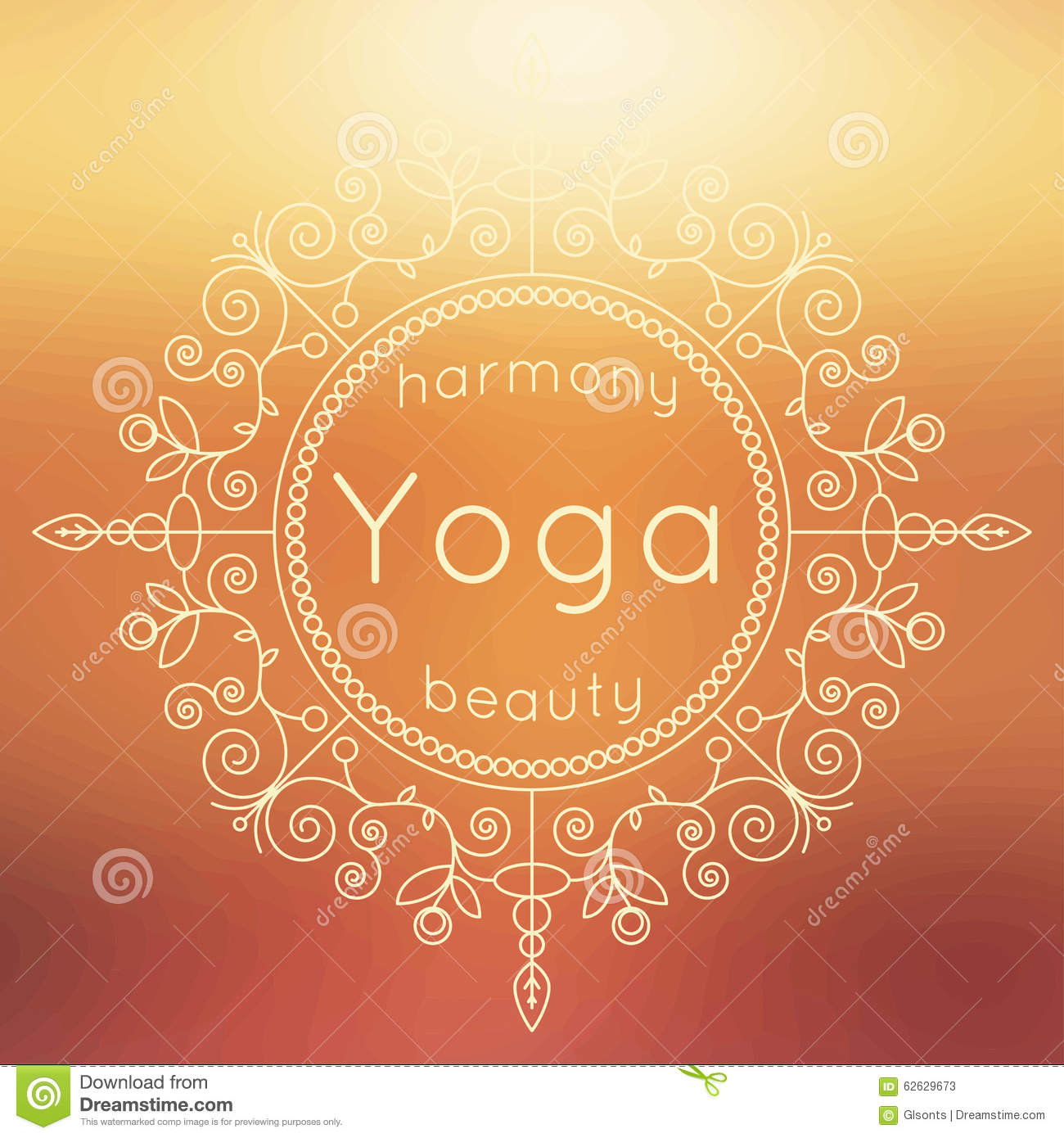 Vector Yoga Illustration Poster With Floral Ornament And