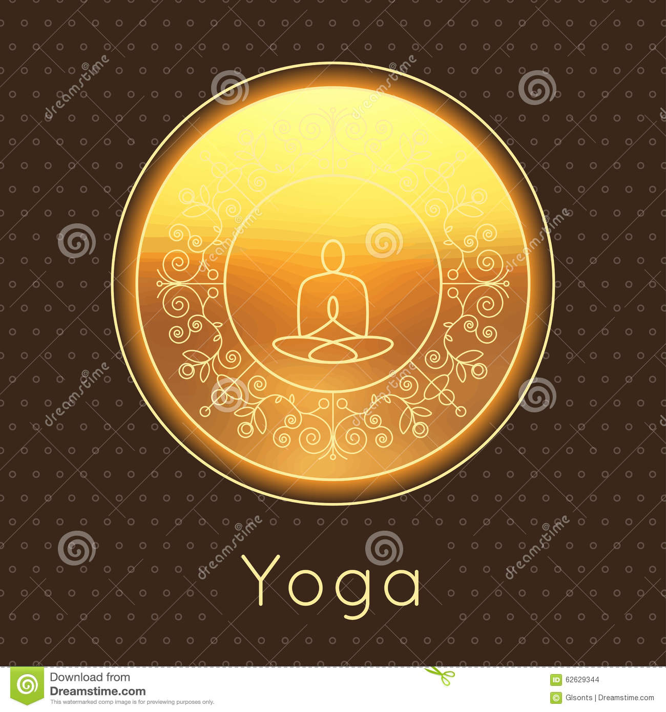 Poster design yoga - Vector Yoga Illustration Yoga Poster With Floral Ornament And Yogi Silhouette Identity Design For