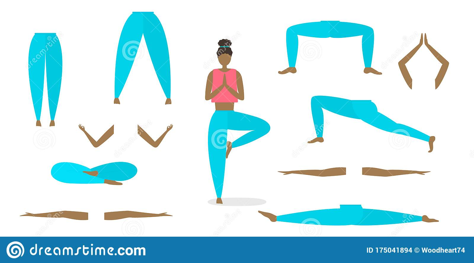 Vector Yoga Poses Constructor. All Elements Of The Body Are