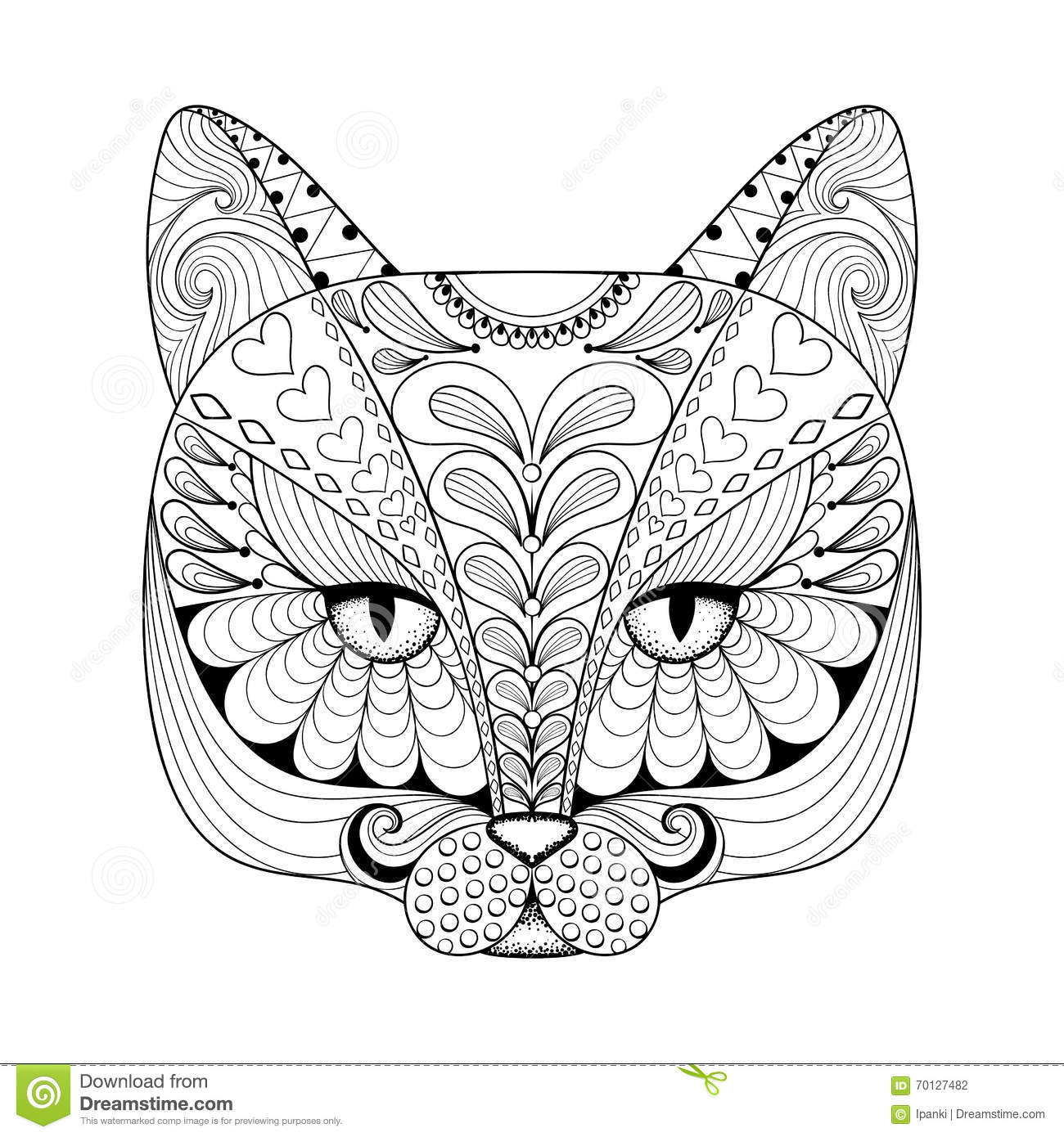 Zen cat coloring page - Vector Zentangle Cat Print For Adult Coloring Page Hand Drawn A