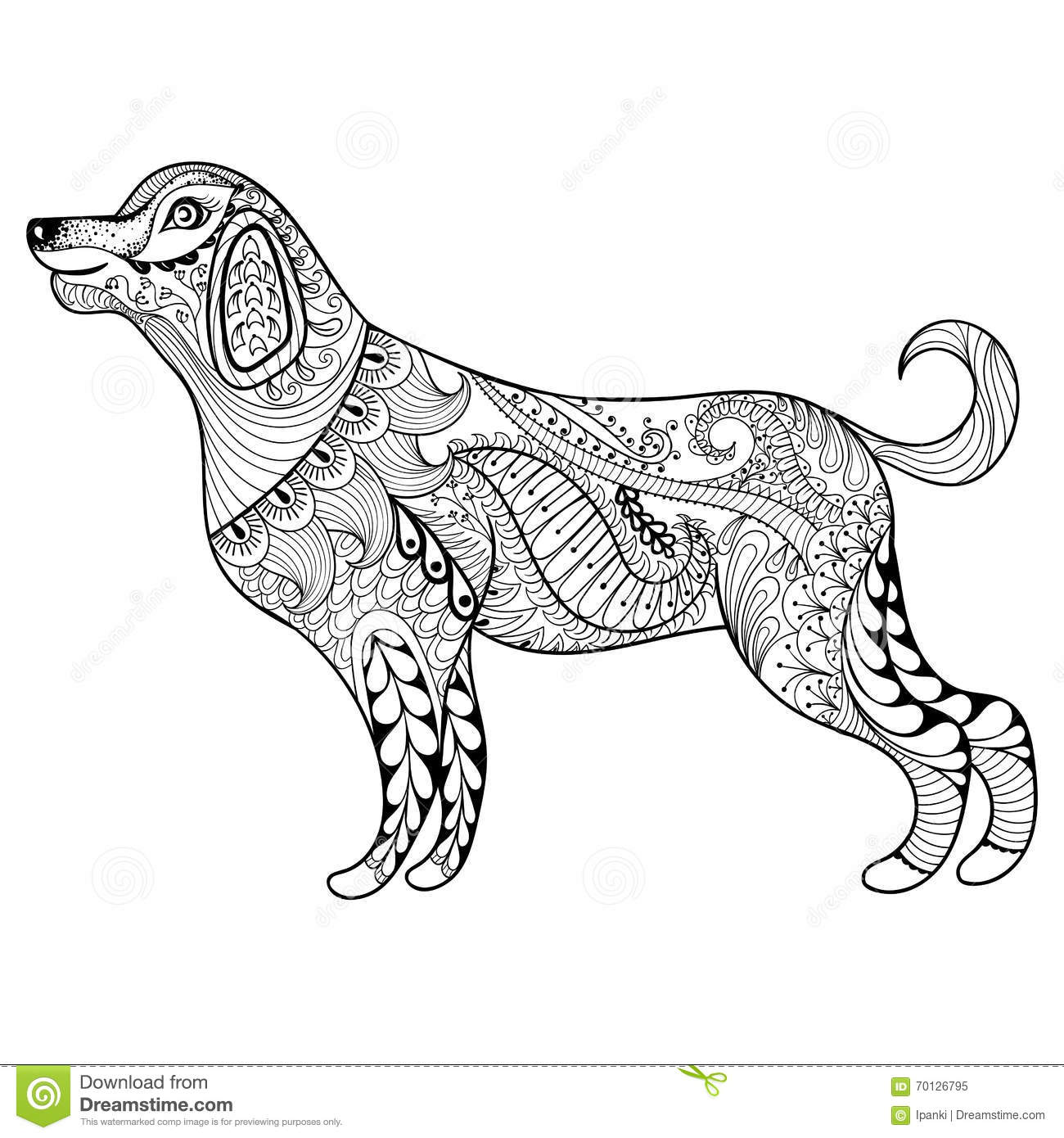 vector zentangle dog print for coloring page hand drawn a