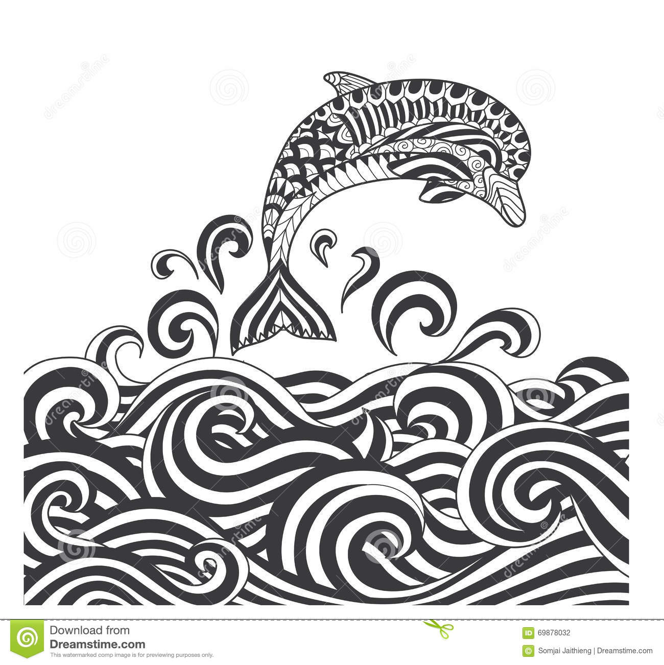 Royalty Free Vector Download Zentangle Dolphins In Scrolling Sea Wave For Adult Coloring Page Book Cover