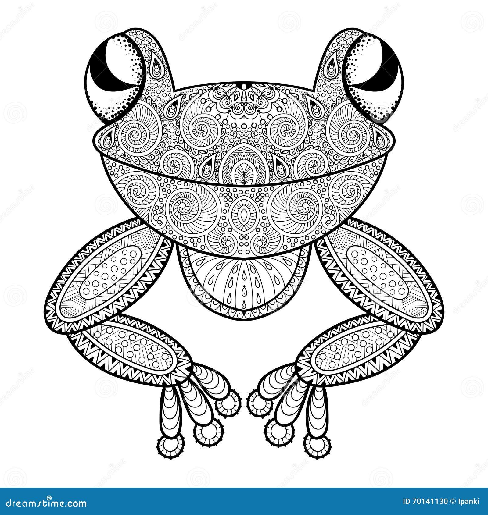 vector zentangle frosch für erwachsene